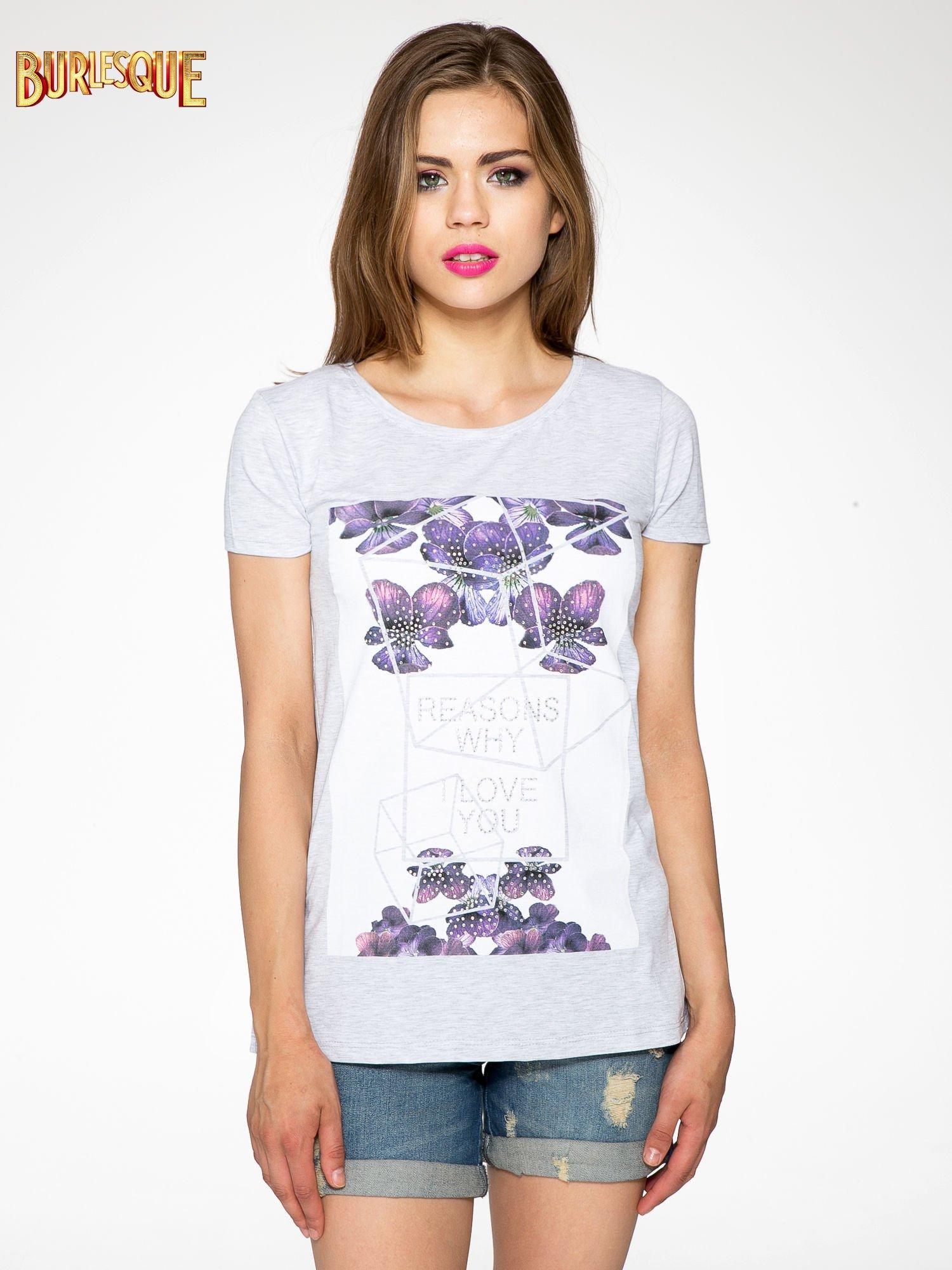 Jasnoszary t-shirt z kwiatowym nadrukiem zdobionym dżetami                                  zdj.                                  11
