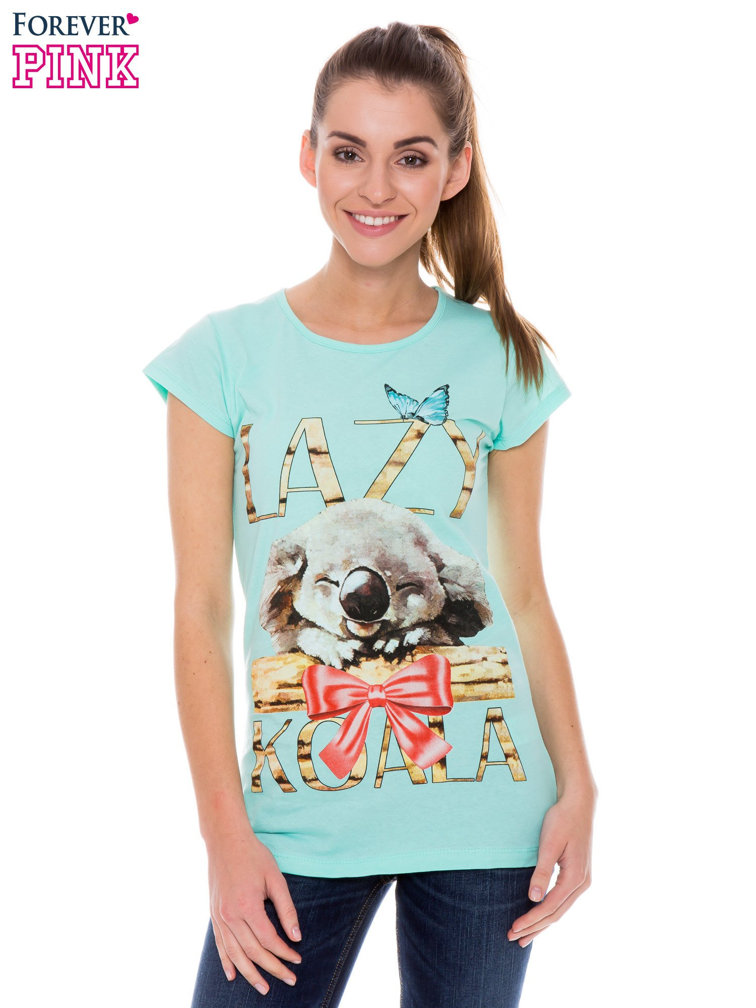 Jasnozielony t-shirt z nadrukiem LAZY KOALA                                  zdj.                                  1
