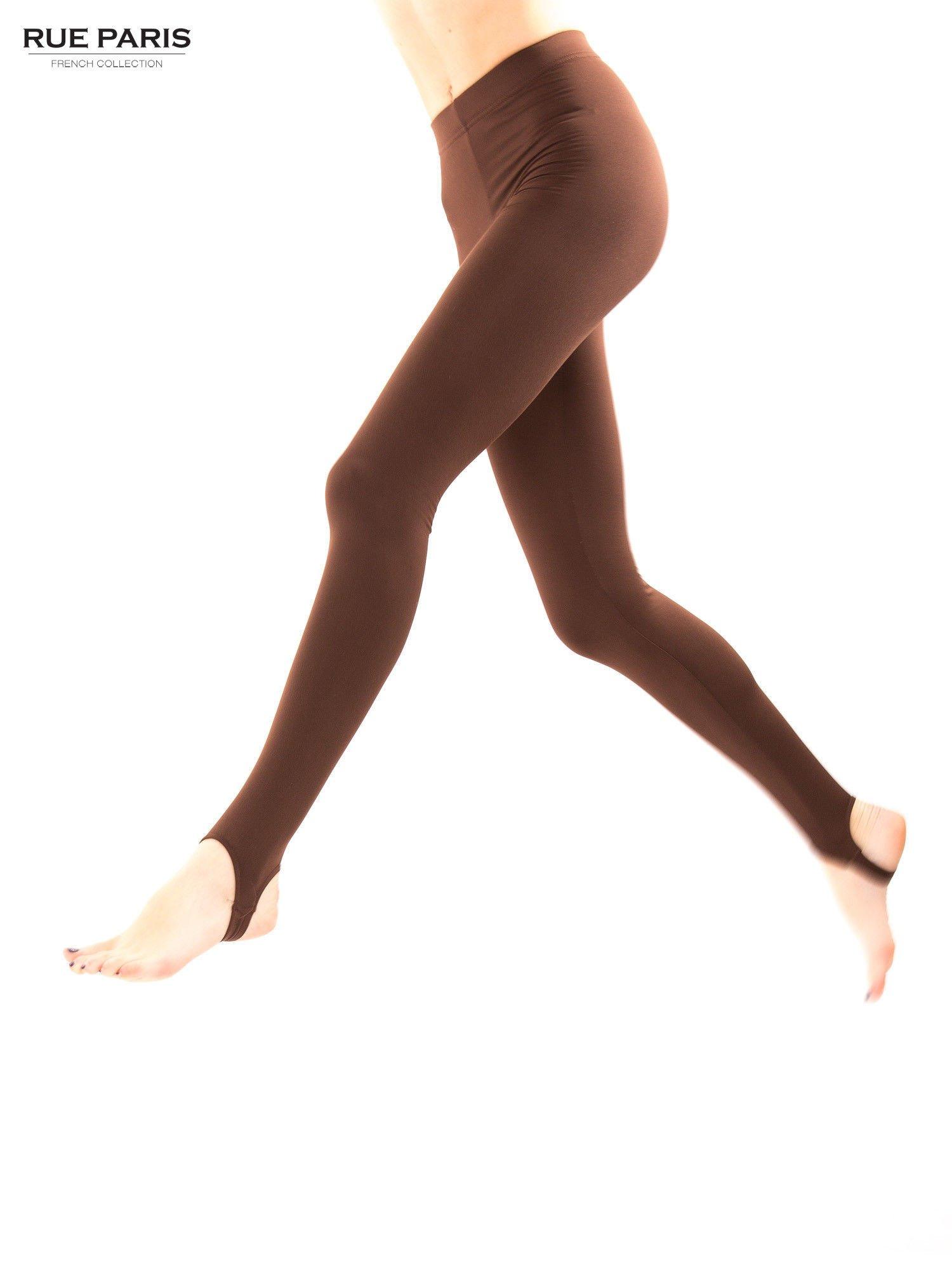 Jasobrązowe legginsy zakłdane na stopę                                  zdj.                                  5