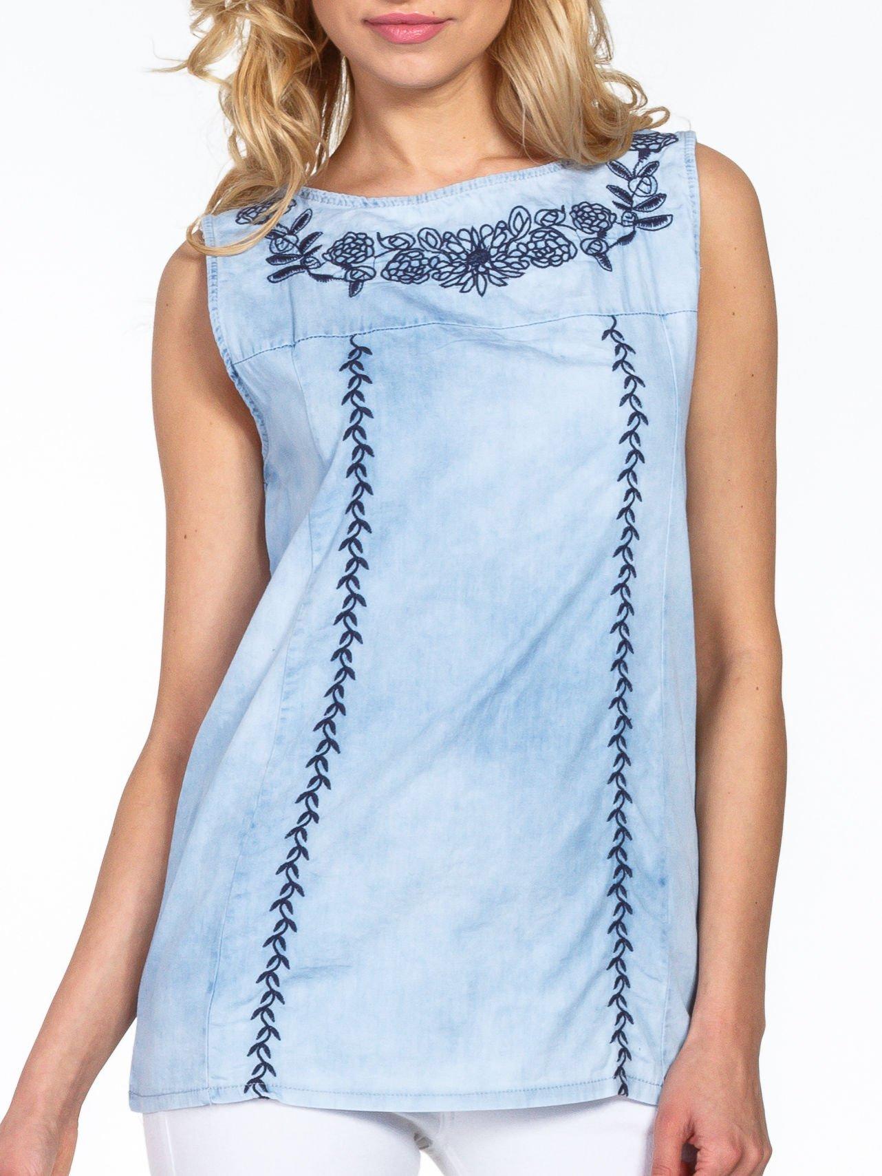 Jeansowa bluzka koszulowa z haftem                                  zdj.                                  5