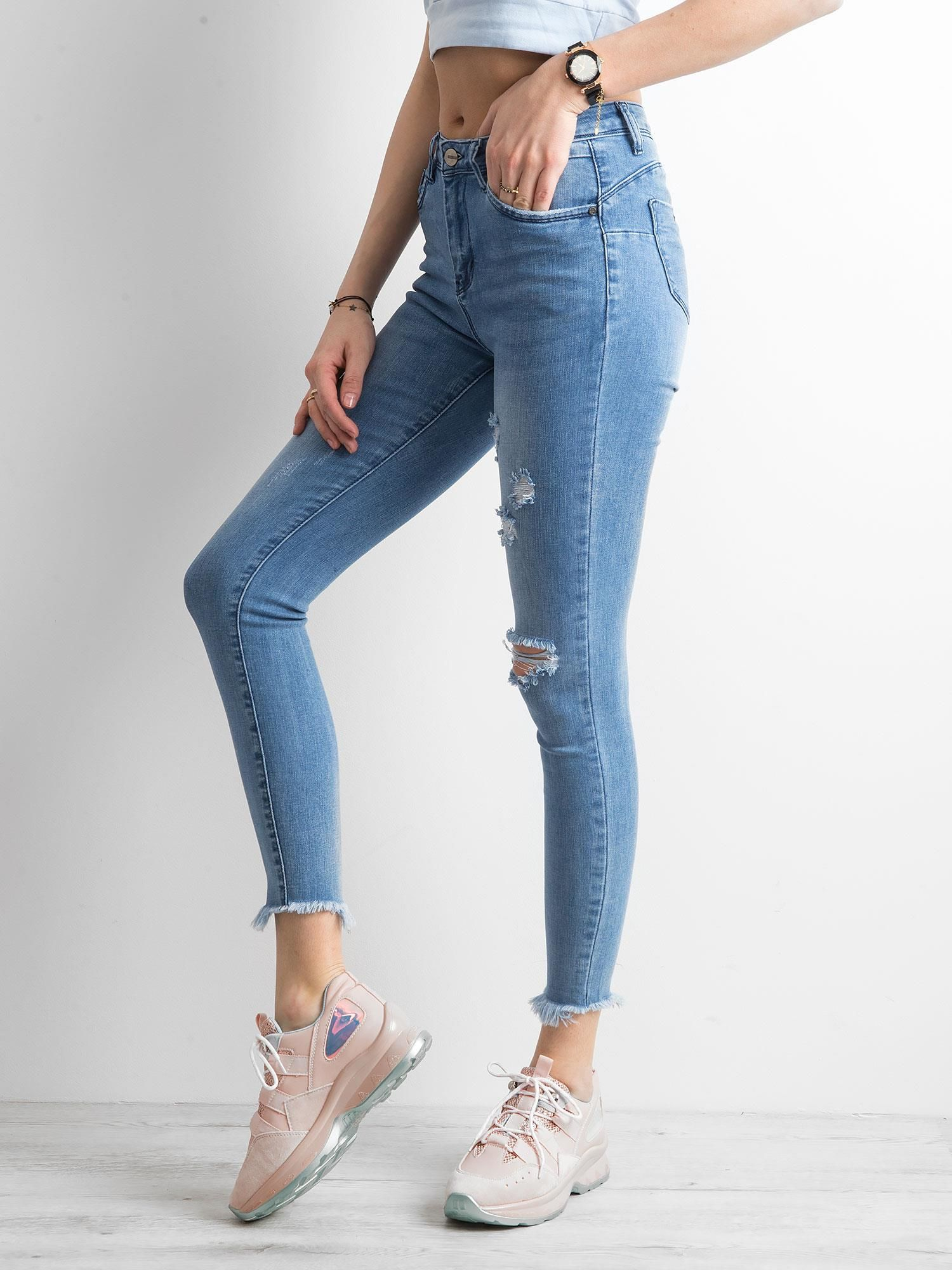 Jeansy skinny z wysokim stanem niebieskie