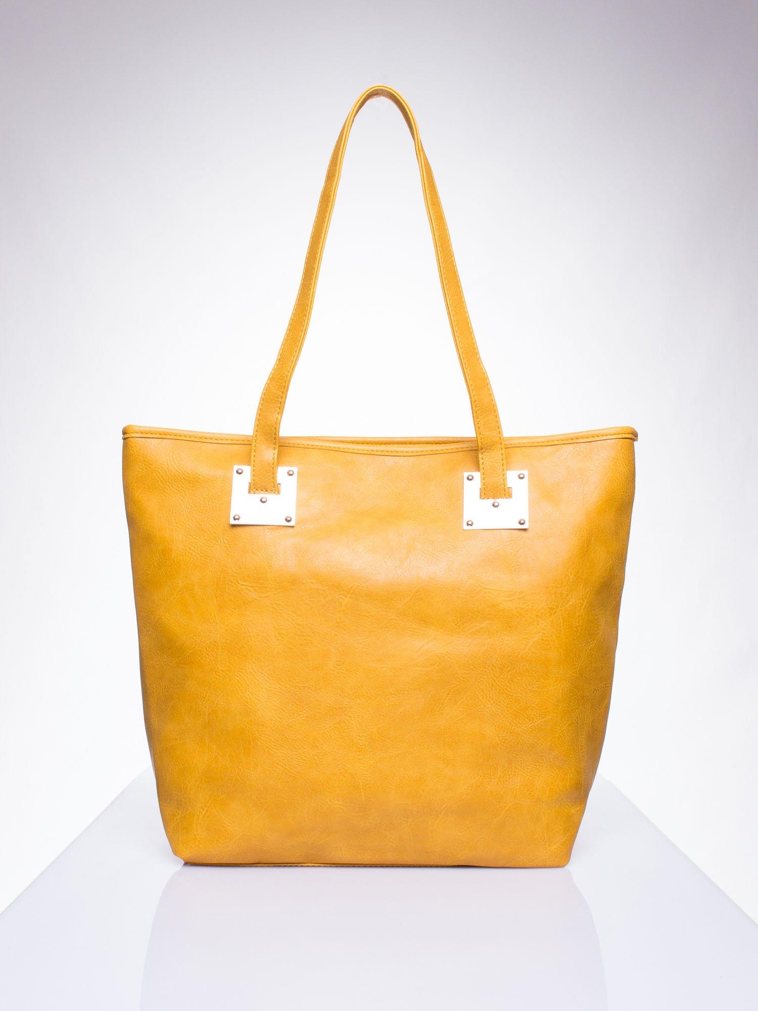 fcc40dd4ed23a Karmelowa prosta torba shopper bag ze złotymi okuciami - Akcesoria ...