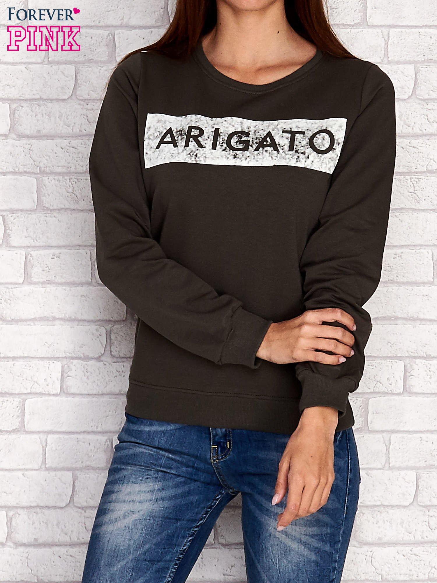 Khaki bluza z napisem ARIGATO                                  zdj.                                  1