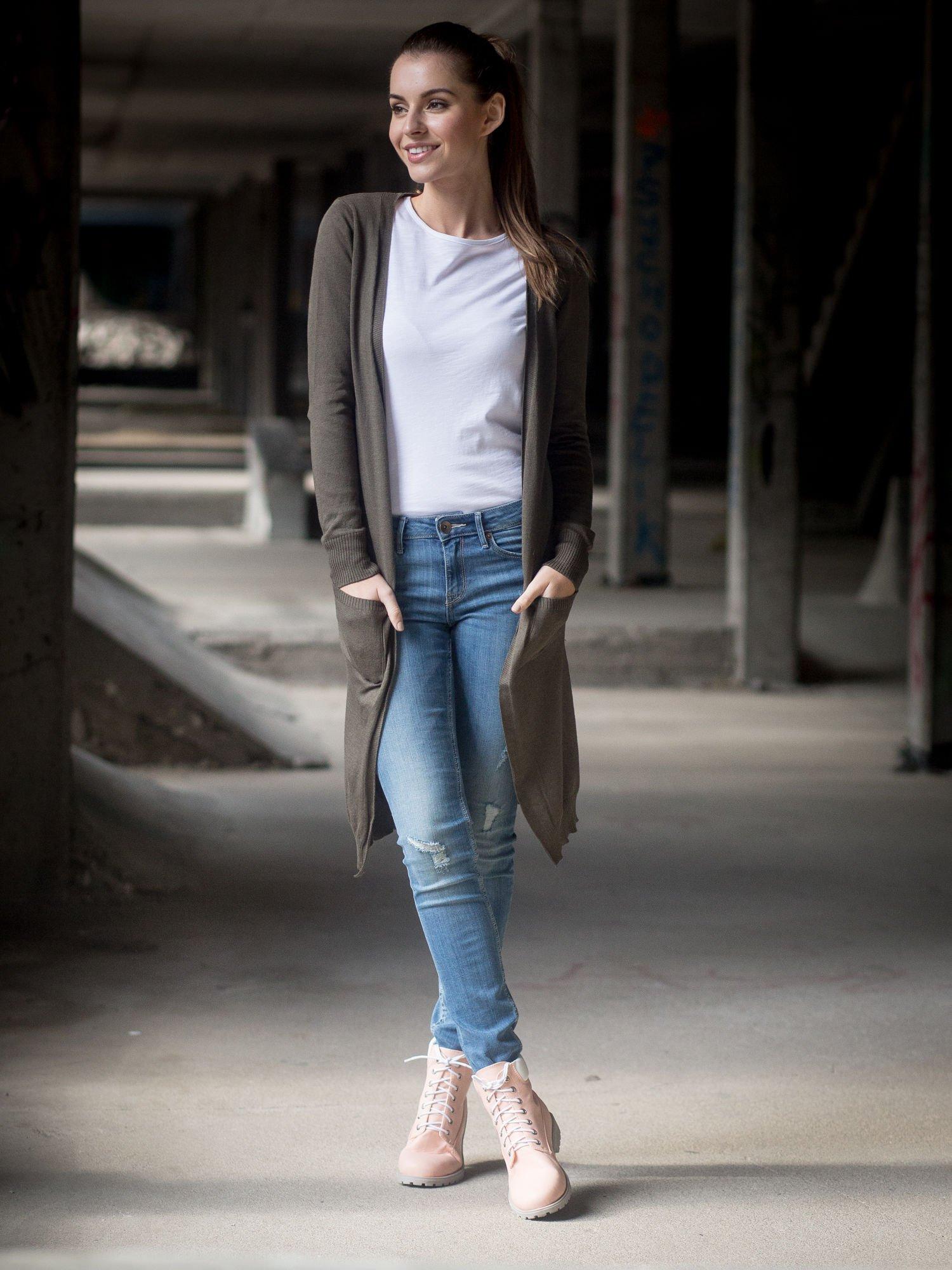 Khaki długi gładki sweter kardigan z kieszeniami                                  zdj.                                  7