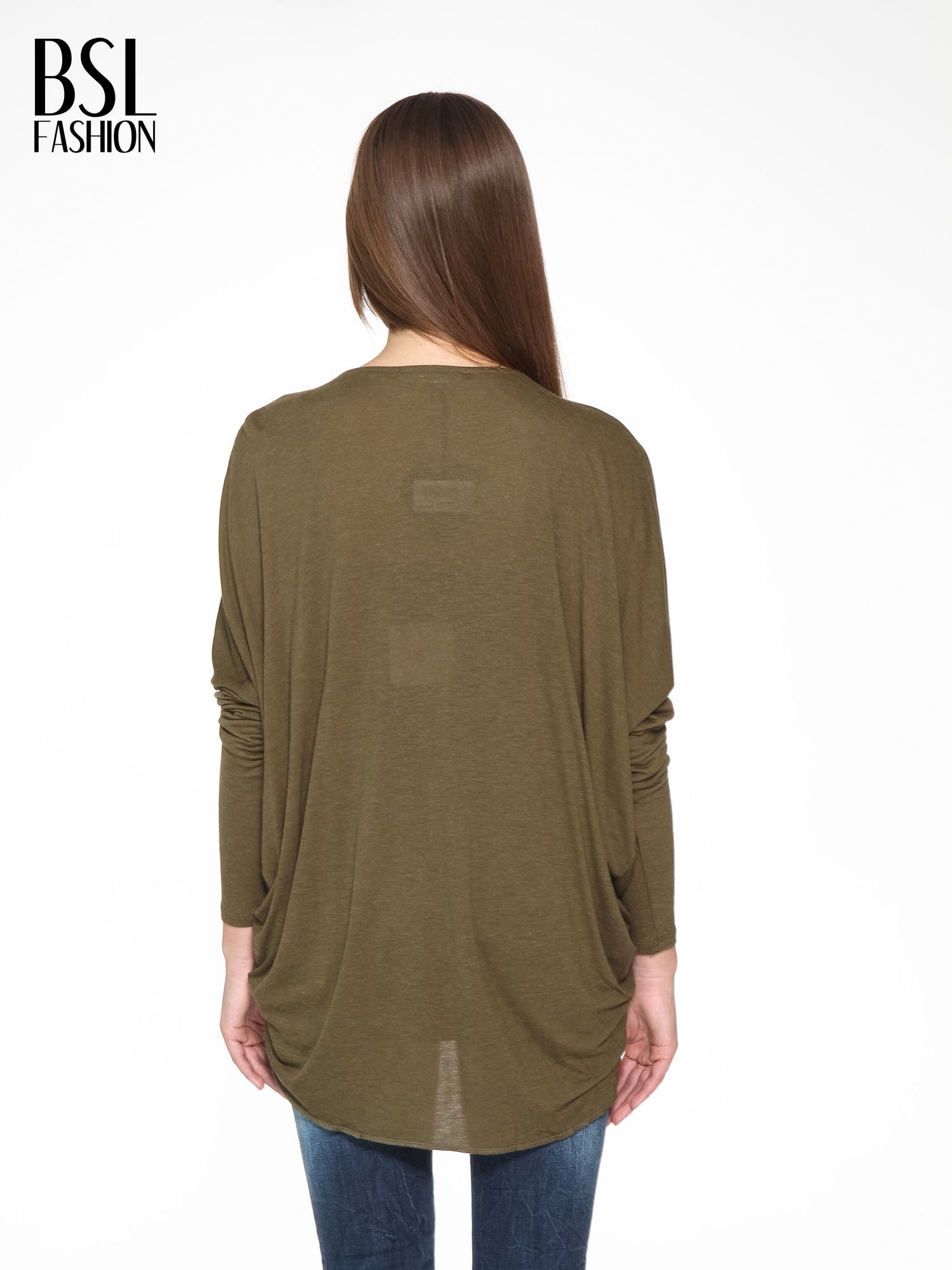 Khaki kopertowa bluzka z drapowaniem                                  zdj.                                  4