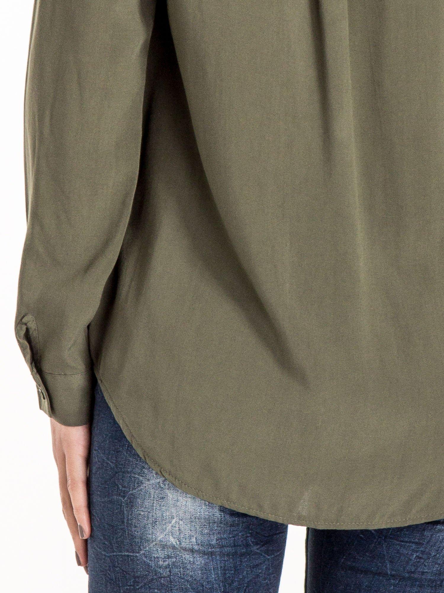 Khaki koszula z haftowanym kołnierzykiem                                  zdj.                                  6