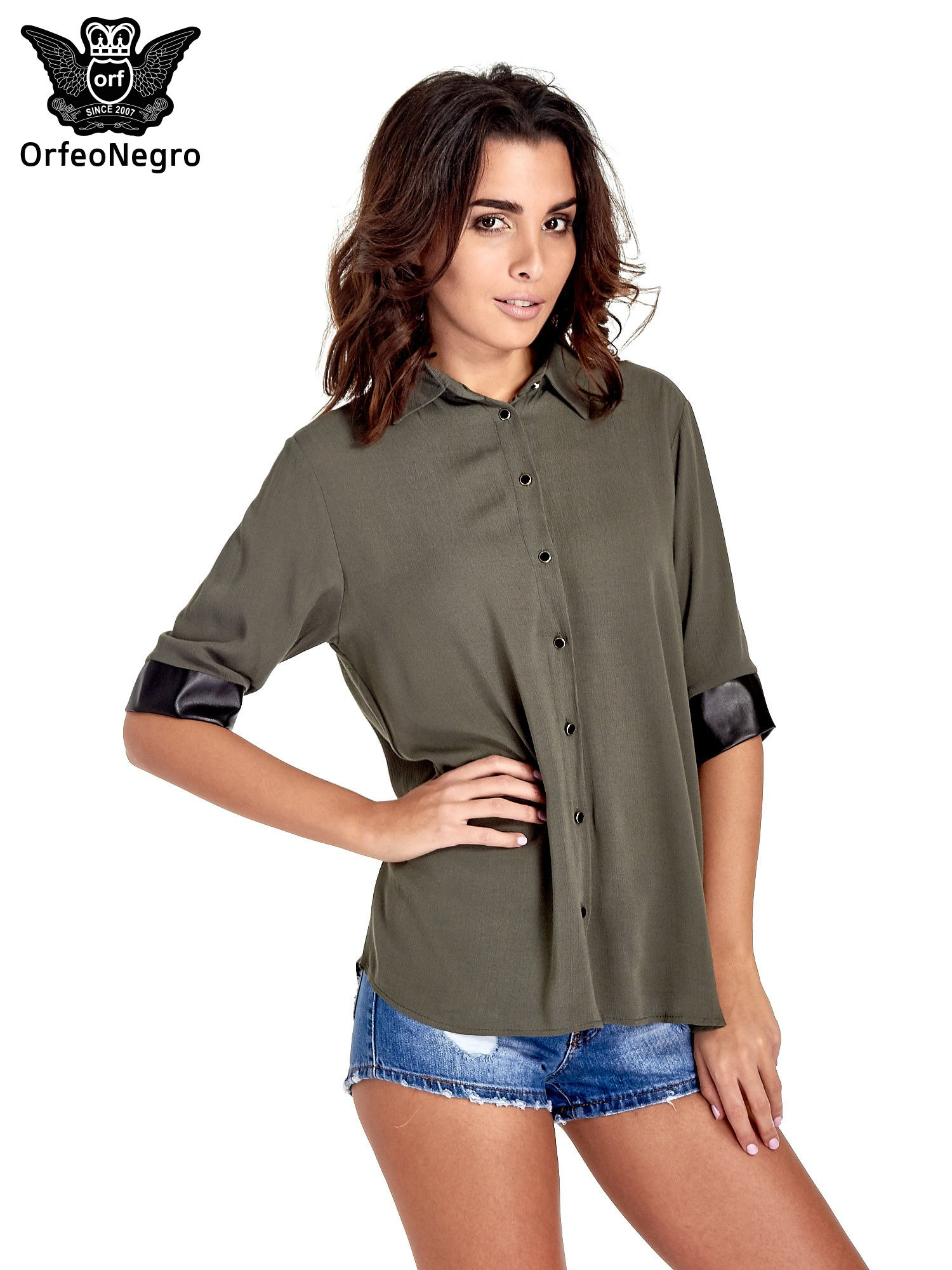 Khaki koszula ze skórzanymi mankietami                                  zdj.                                  1
