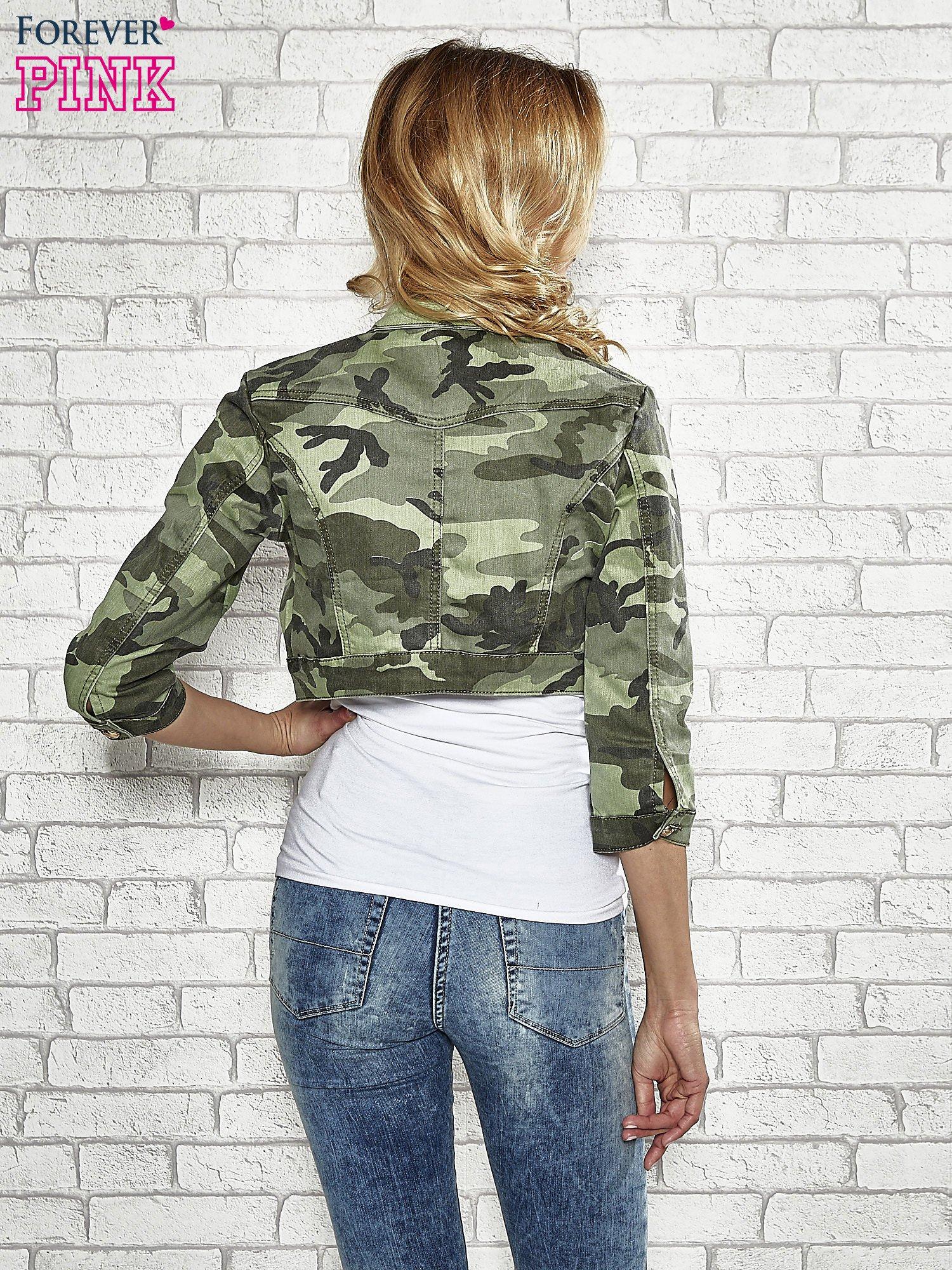 Khaki krótka kurtka z aplikacją na kołnierzu                                  zdj.                                  4