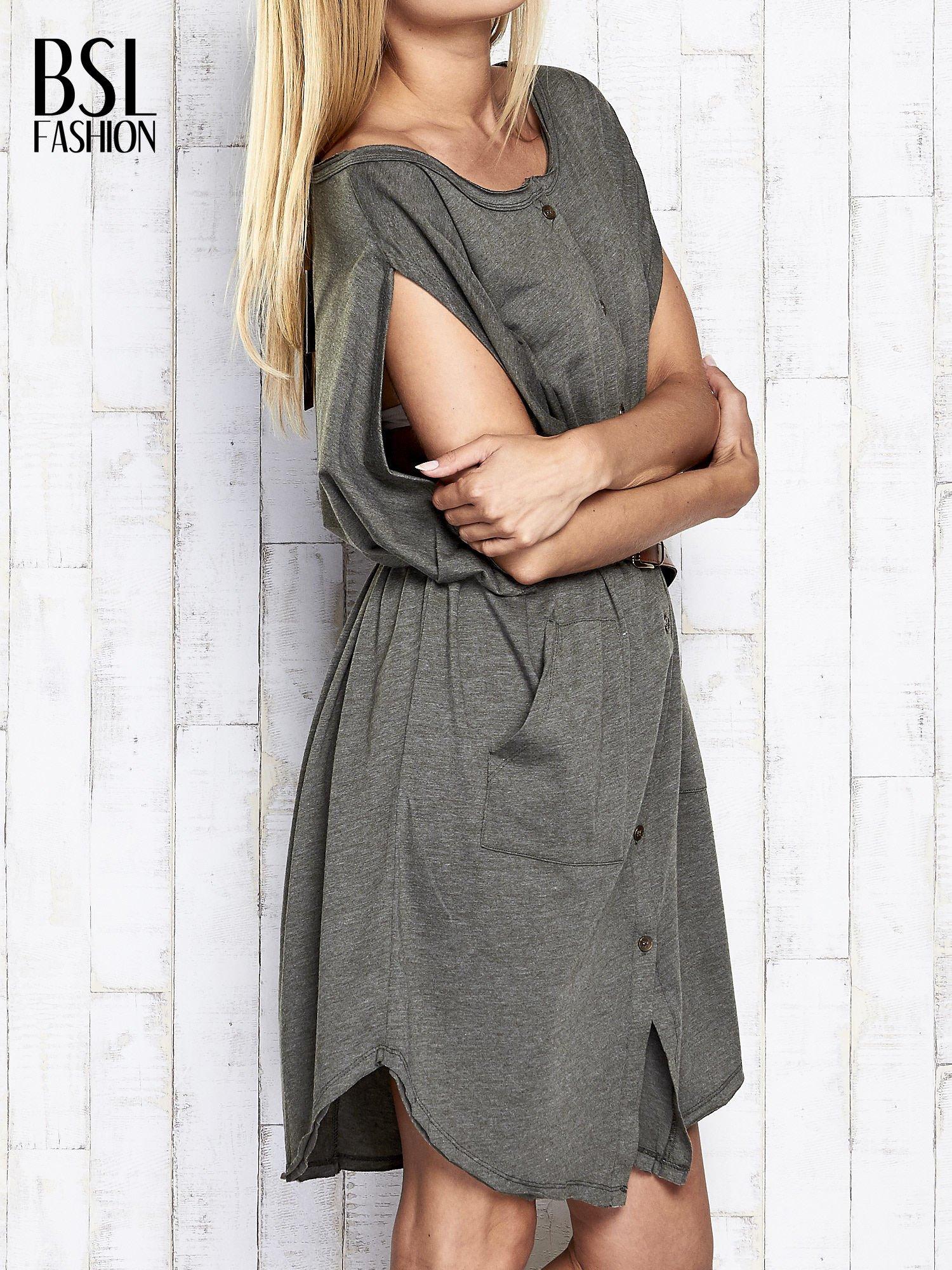 Khaki melanżowa sukienka oversize z guzikami                                  zdj.                                  4
