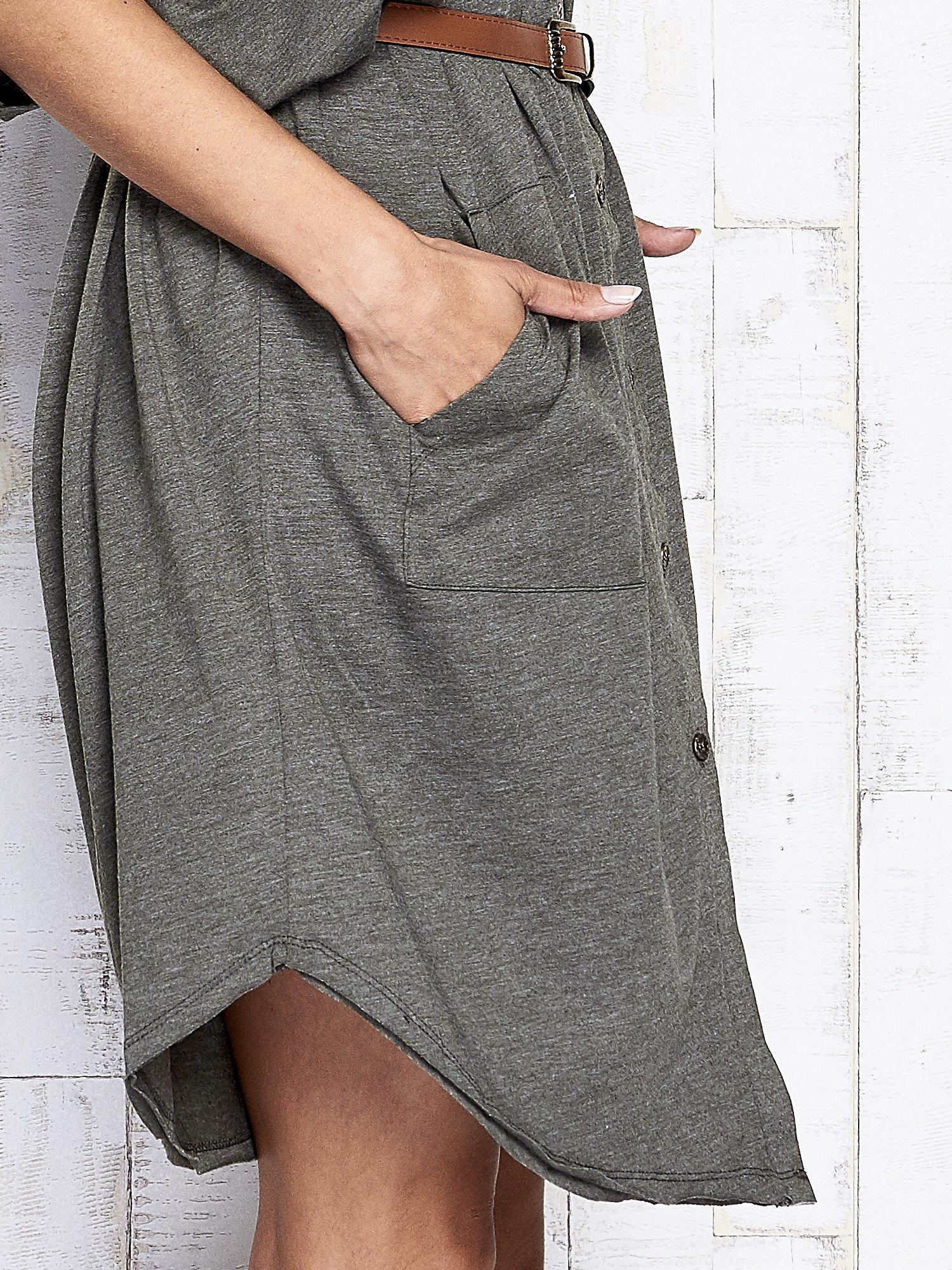 Khaki melanżowa sukienka oversize z guzikami                                  zdj.                                  8