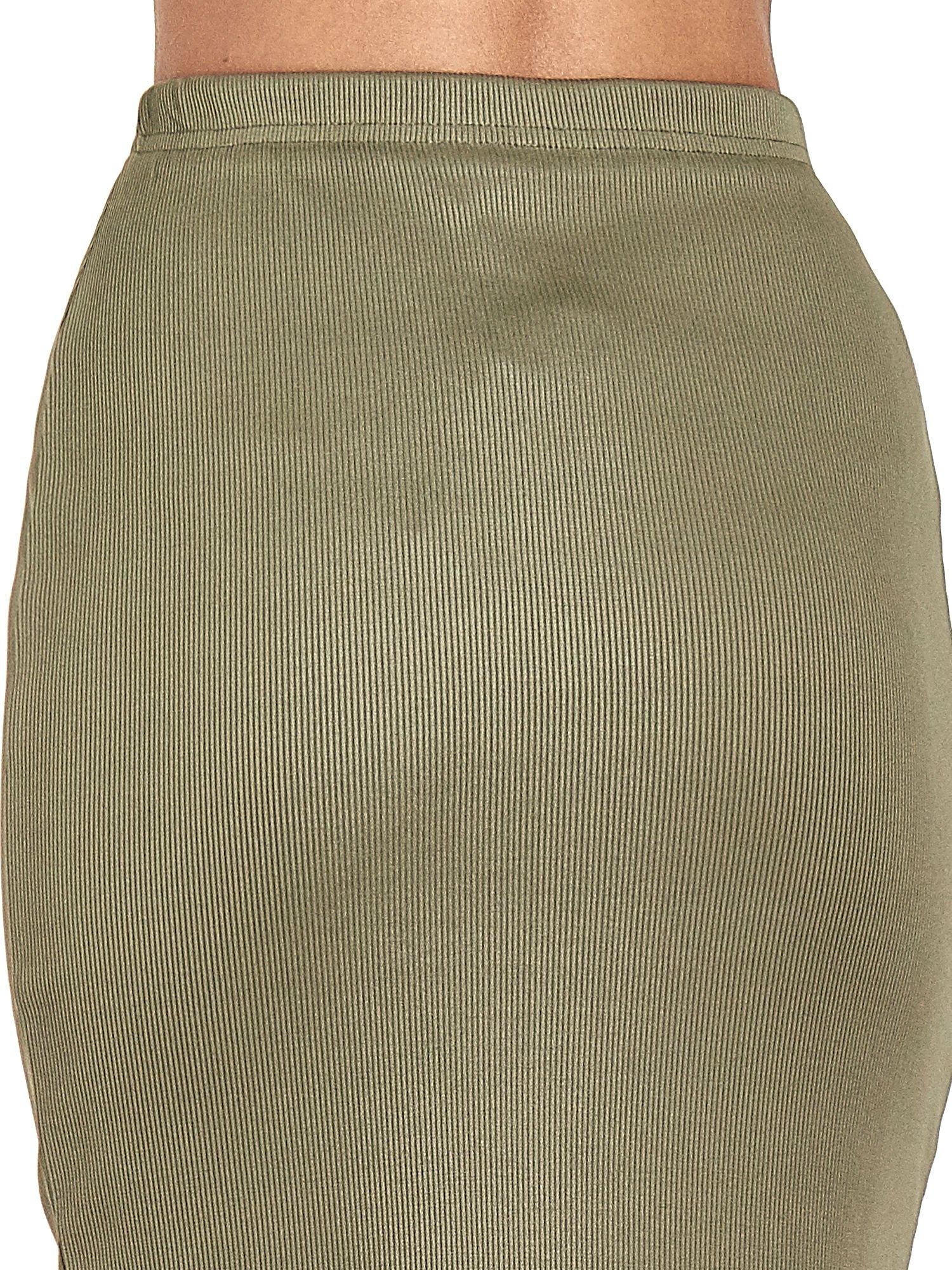 Khaki spódnica midi z suwakiem z przodu                                  zdj.                                  7