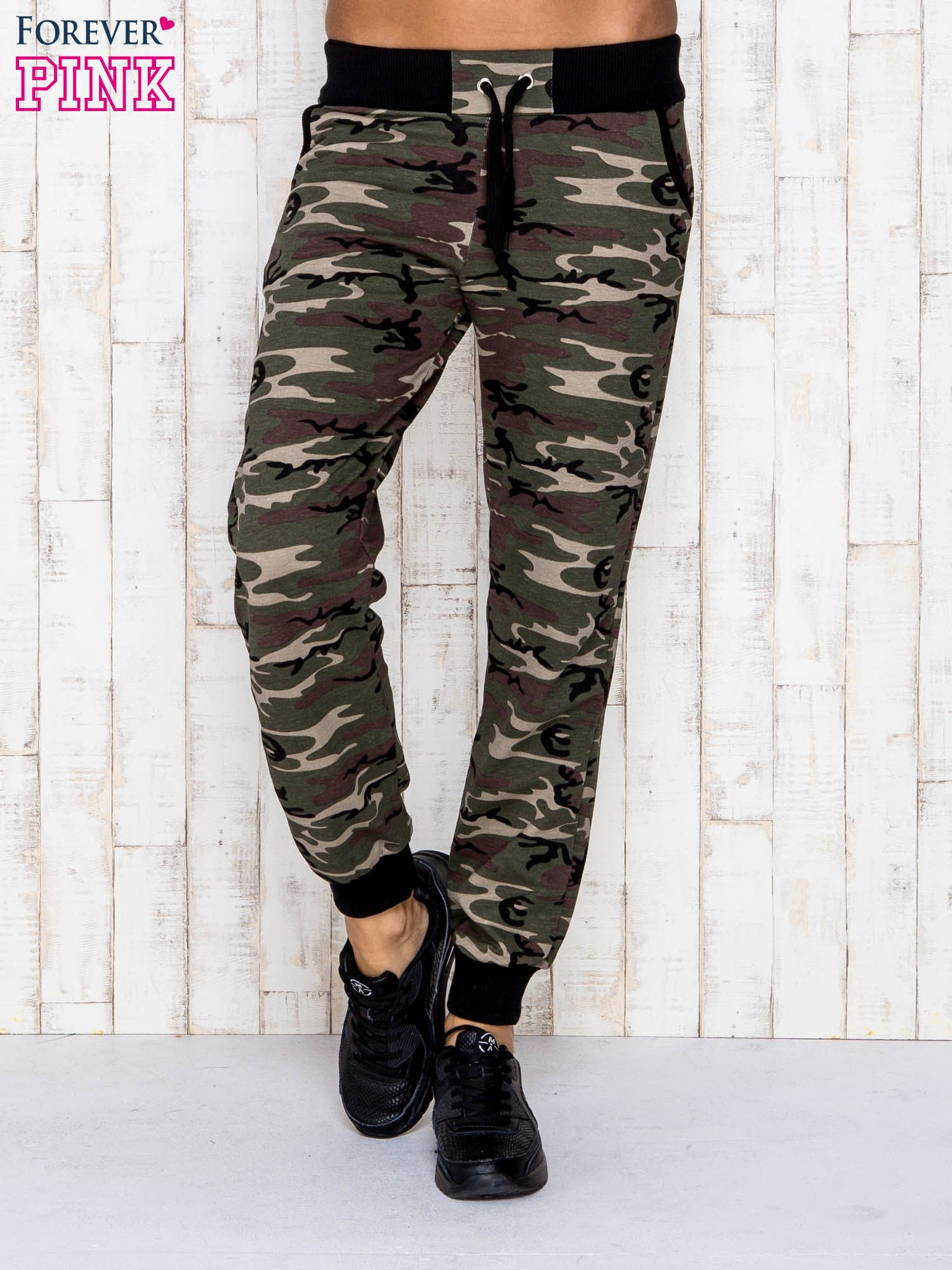 7e6dbb905a6610 Khaki spodnie dresowe moro z troczkami - Spodnie Dresowe - sklep ...