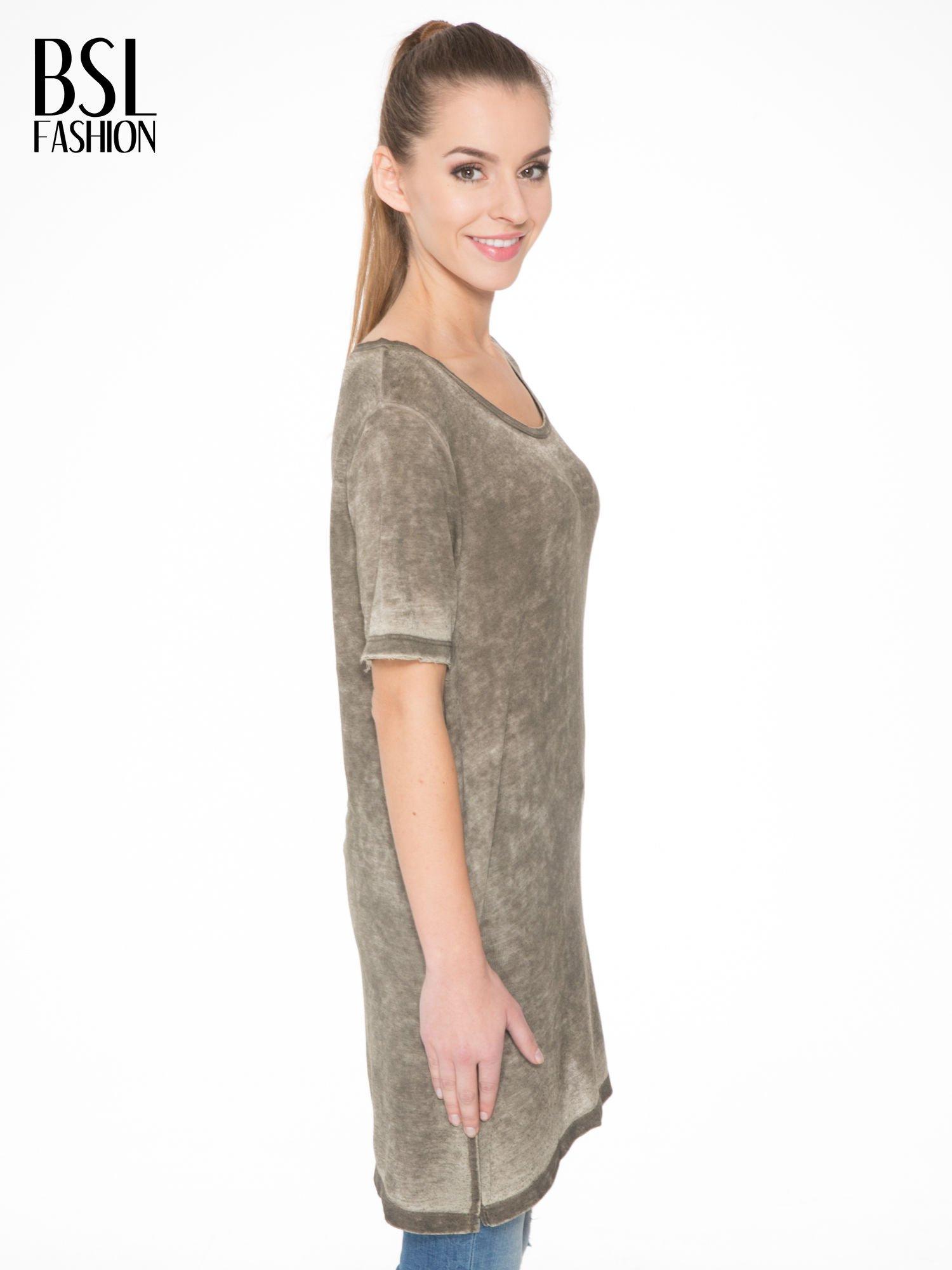 Khaki sukienka typu t-shirt bluzka z efektem dekatyzowania                                  zdj.                                  3