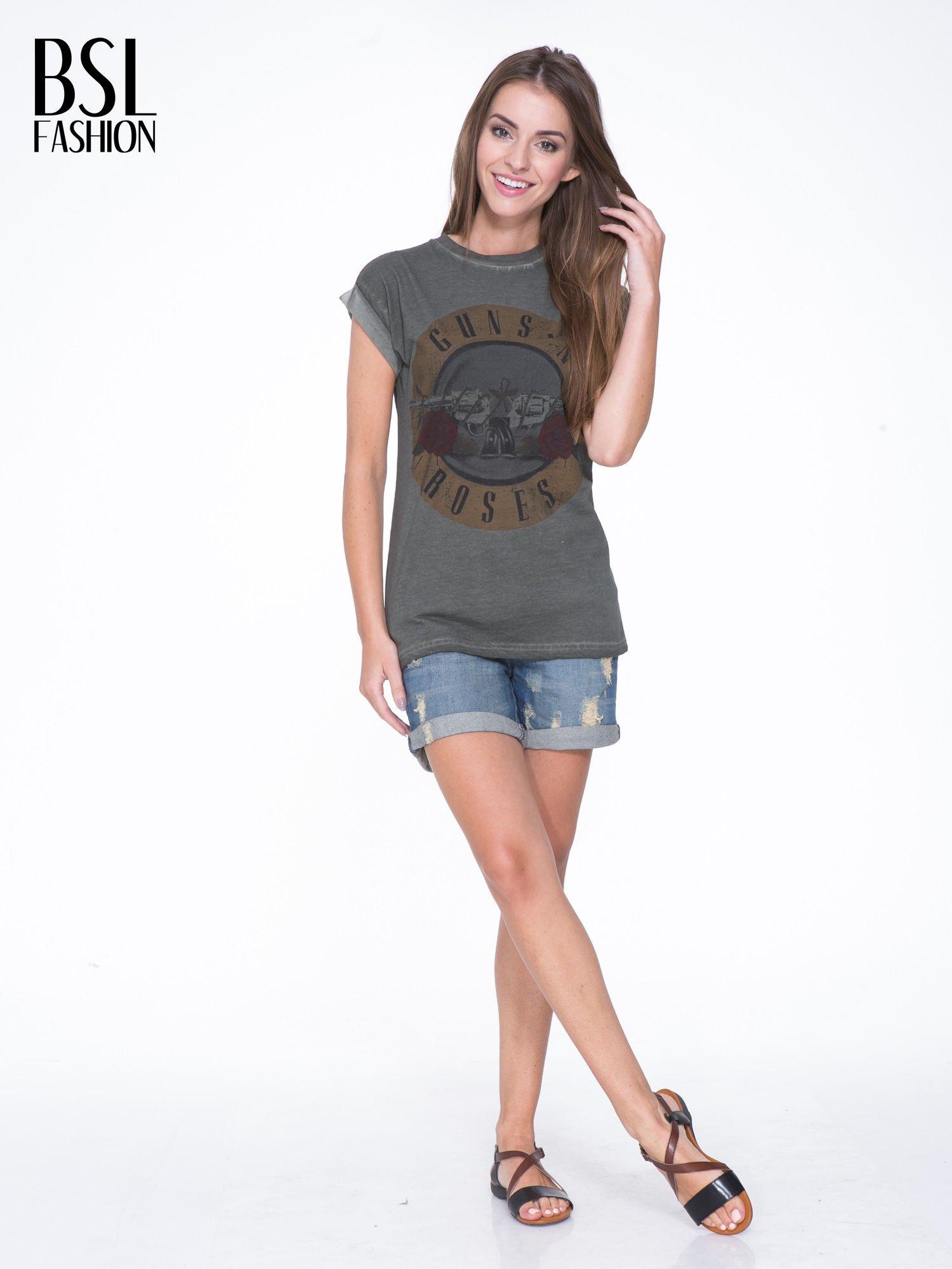 Khaki t-shirt z nadrukiem GUNS N' ROSES                                  zdj.                                  5