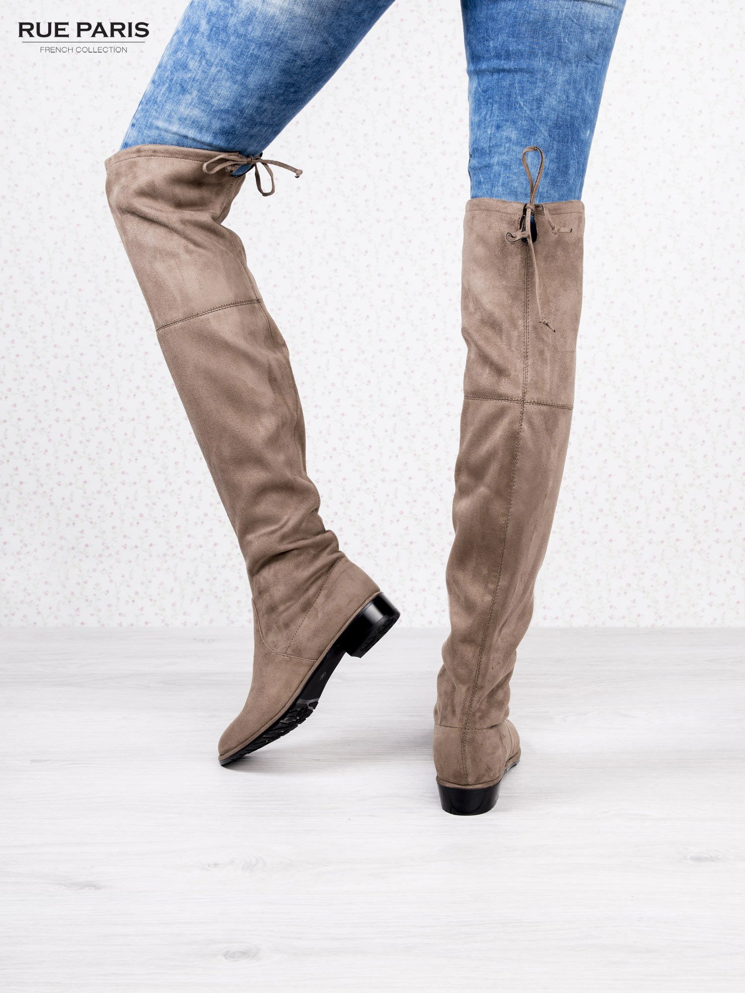 Khaki zamszowe kozaki za kolano na płaskim obcasie                                  zdj.                                  4