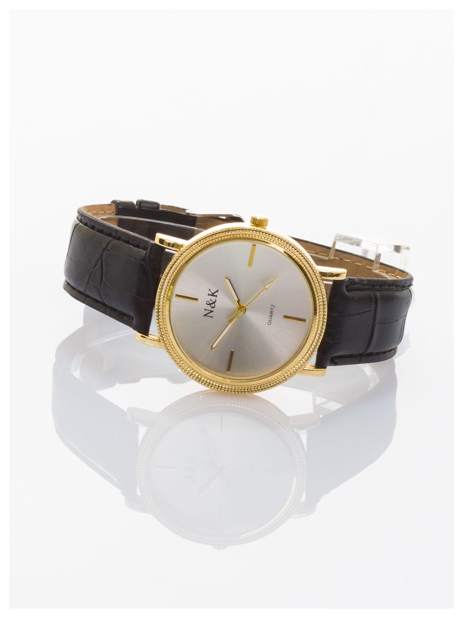 Klasyczny damski zegarek z elegancką i czytelną tarczą. Czarny skórzany pasek. Ozdobna koperta                                  zdj.                                  2