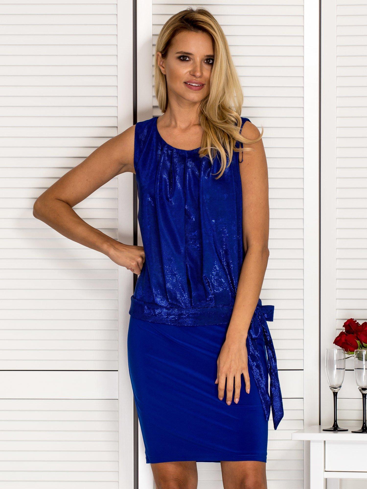 367a836712 Kobaltowa sukienka wieczorowa z błyszczącą górą - Sukienka ...