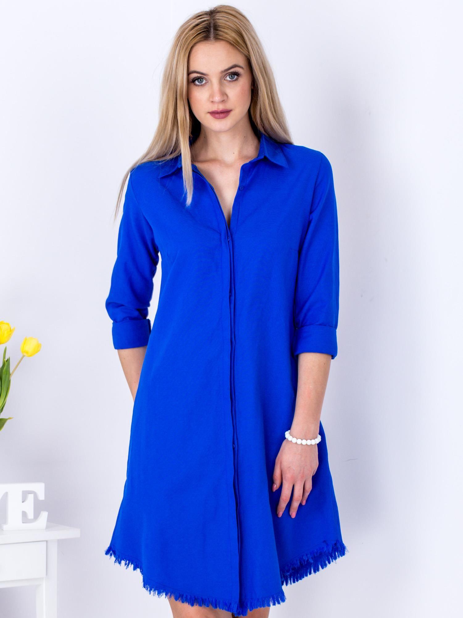 ddc280d667 Kobaltowa sukienka zapinana na guziki - Sukienka szmizjerka - sklep ...
