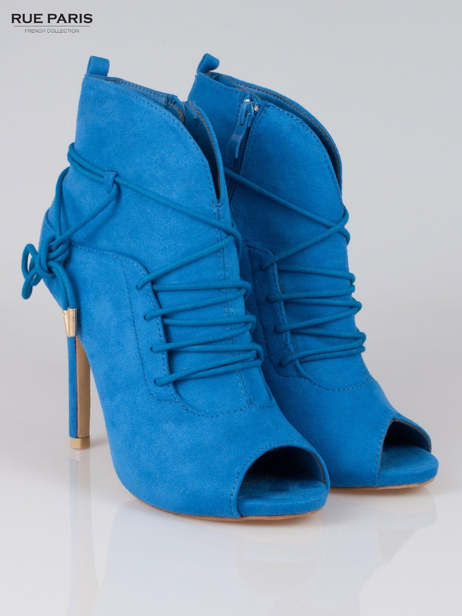 Kobaltowe wiązane botki faux suede Elsa lace up                                  zdj.                                  2