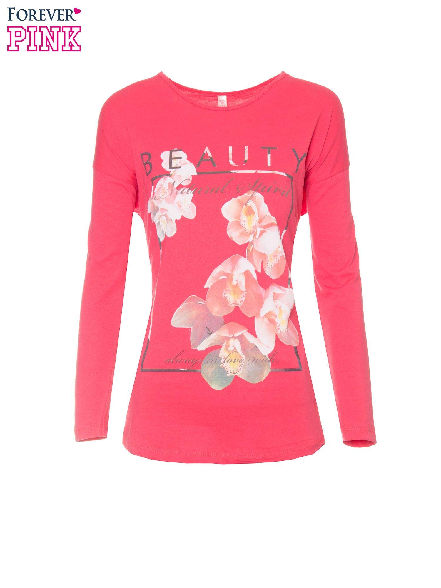 Koralowa bluzka z nadrukiem kwiatowym i napisem BEAUTY                                  zdj.                                  5