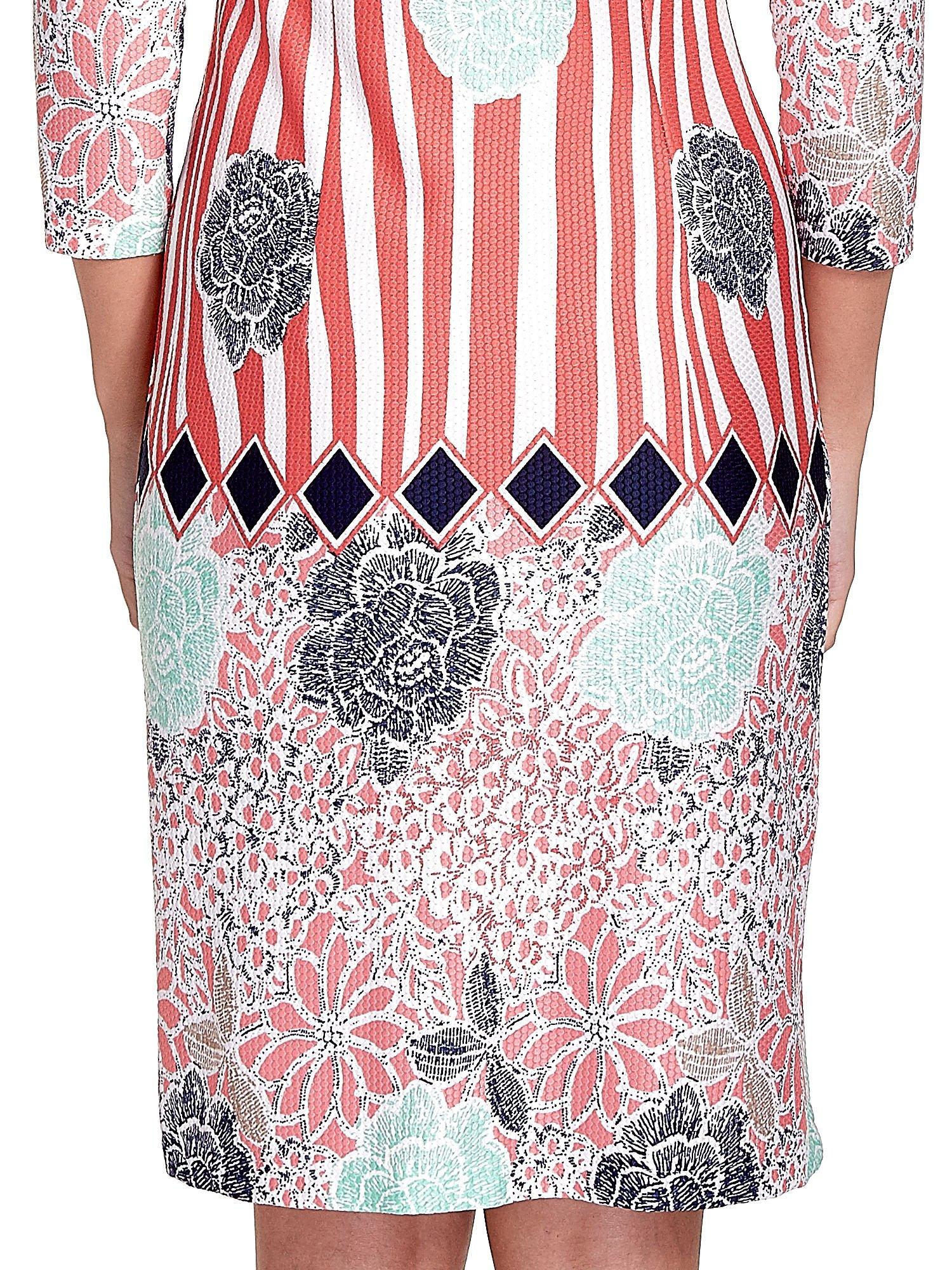 Koralowa sukienka w kwiatowe i geometryczne wzory                                  zdj.                                  5