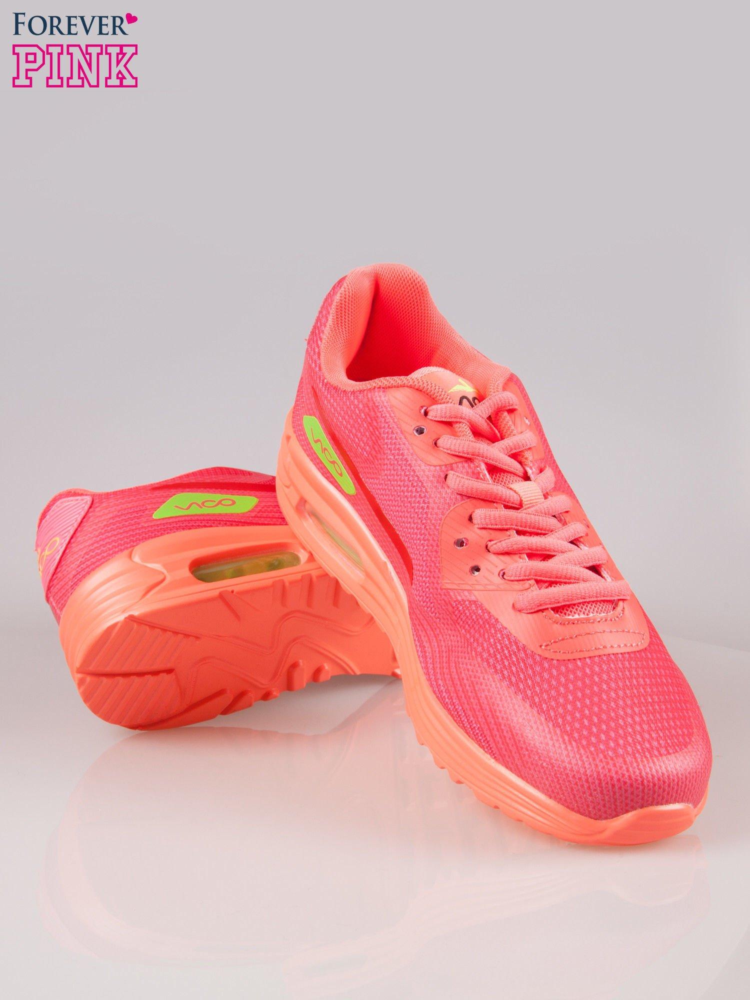Koralowe miękkie buty sportowe z imitacją siateczki                                  zdj.                                  4