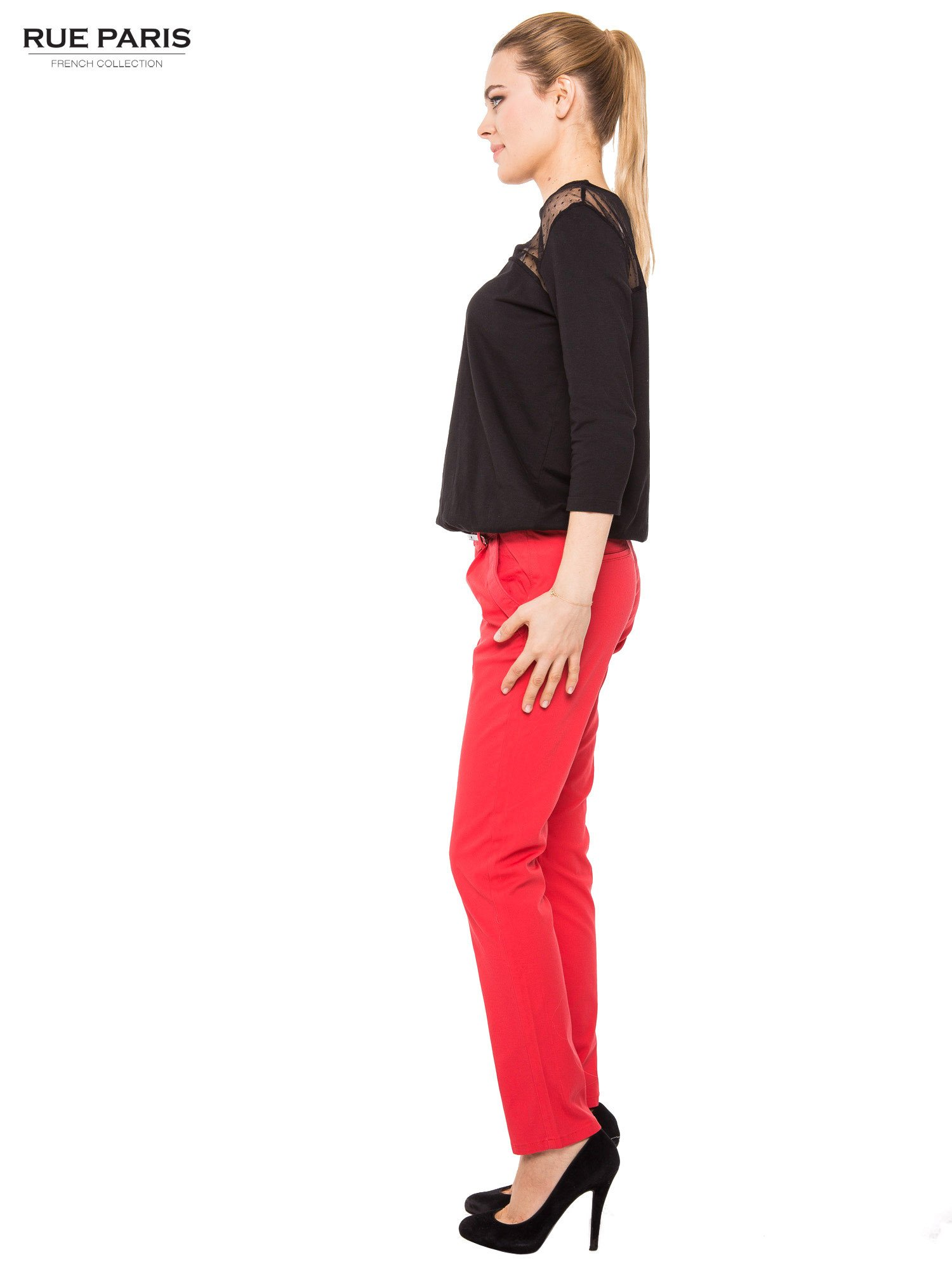 Koralowe proste spodnie z paskiem                                  zdj.                                  6
