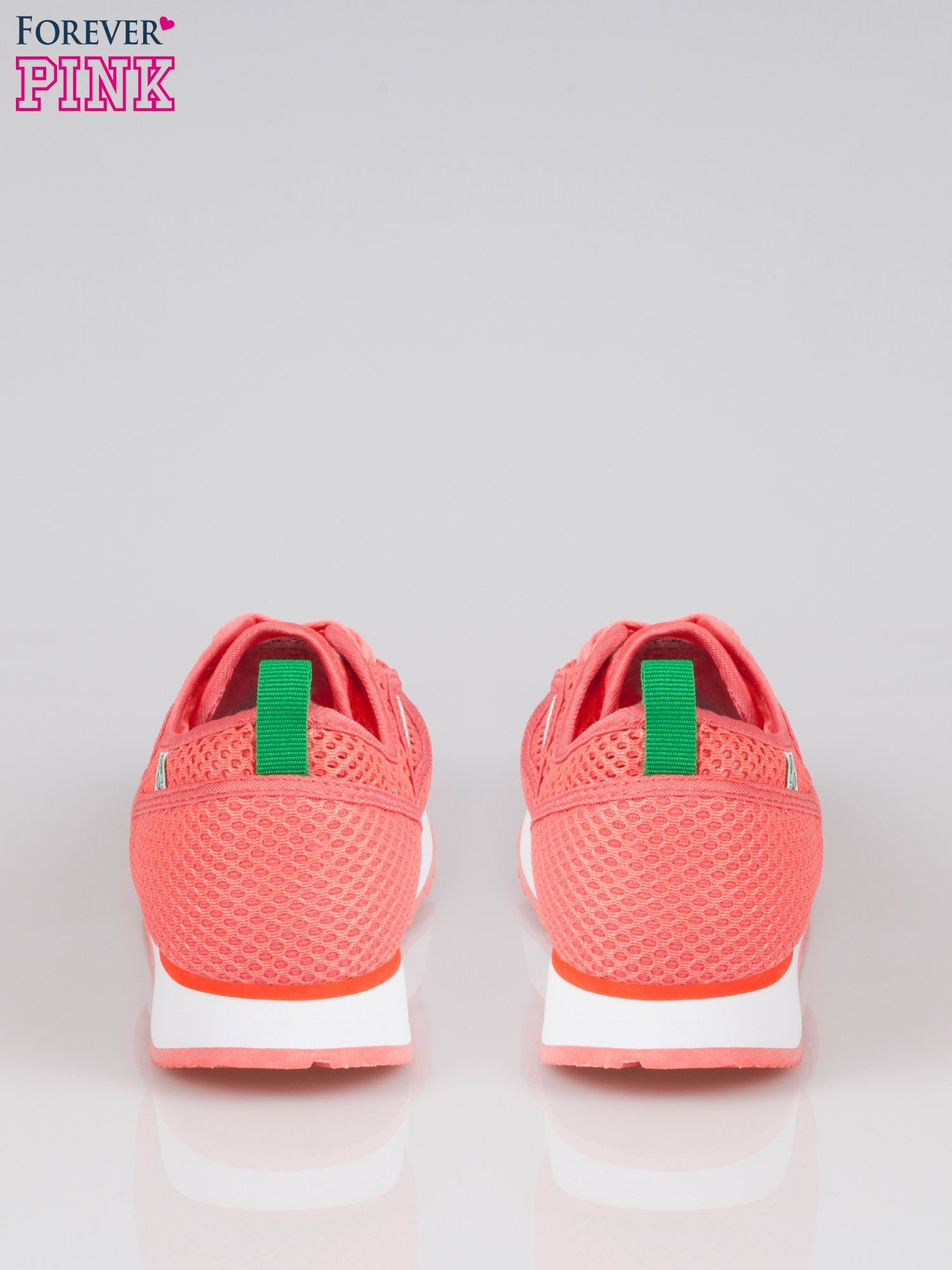 Koralowe siateczkowe buty sportowe textile High Level na platformie                                  zdj.                                  3