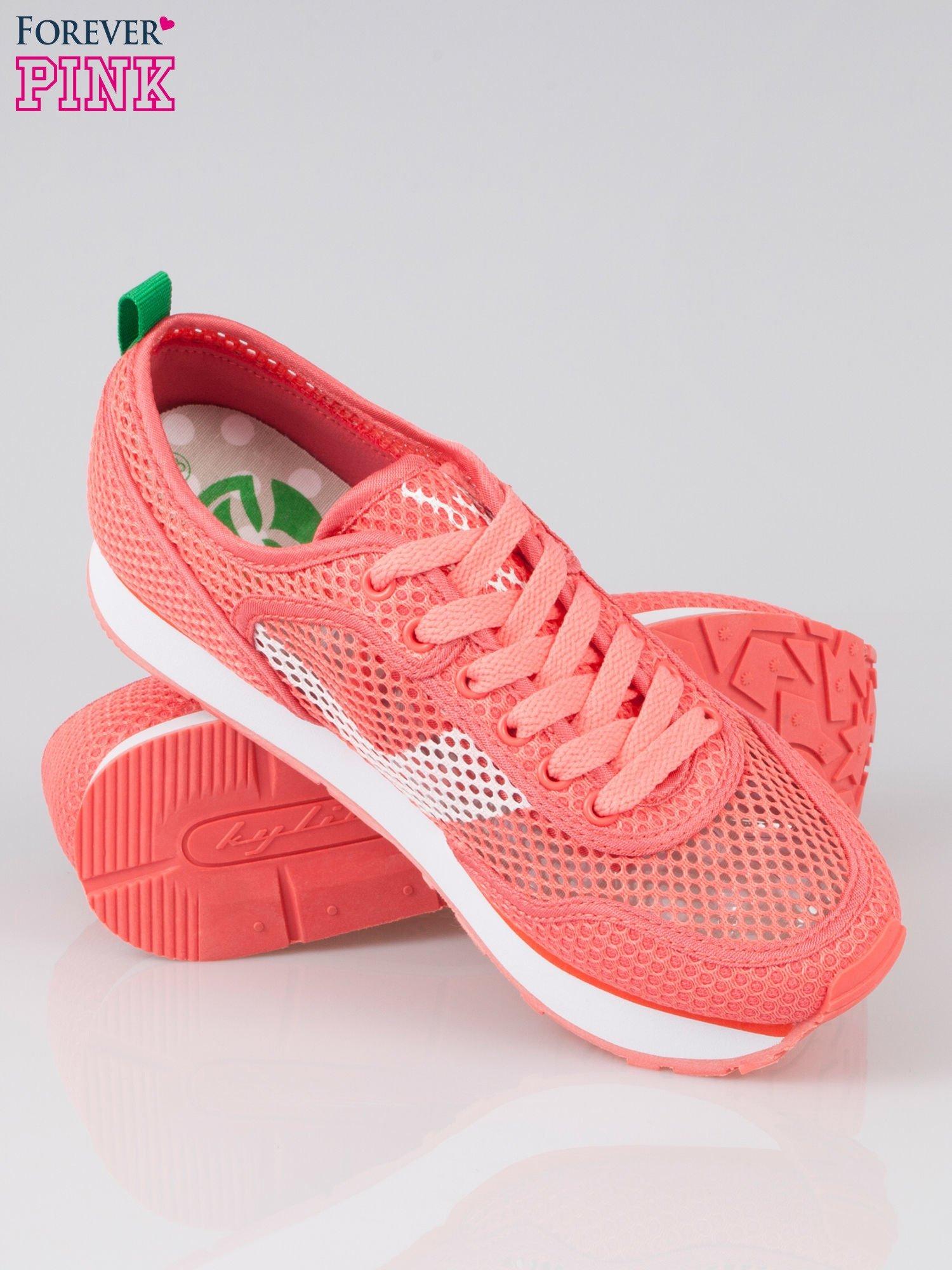 Koralowe siateczkowe buty sportowe textile High Level na platformie                                  zdj.                                  4