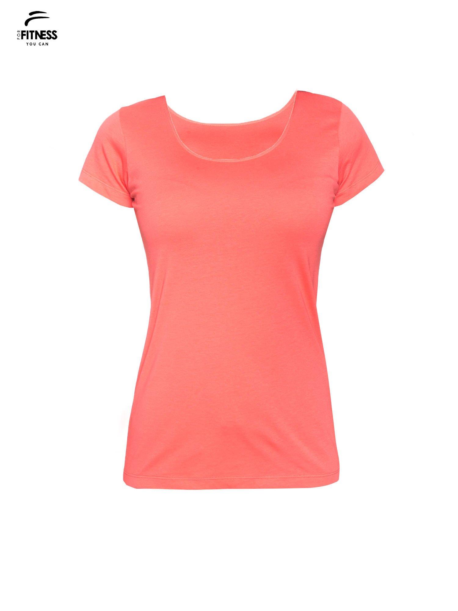 Koralowy bawełniany t-shirt damski typu basic                                  zdj.                                  2