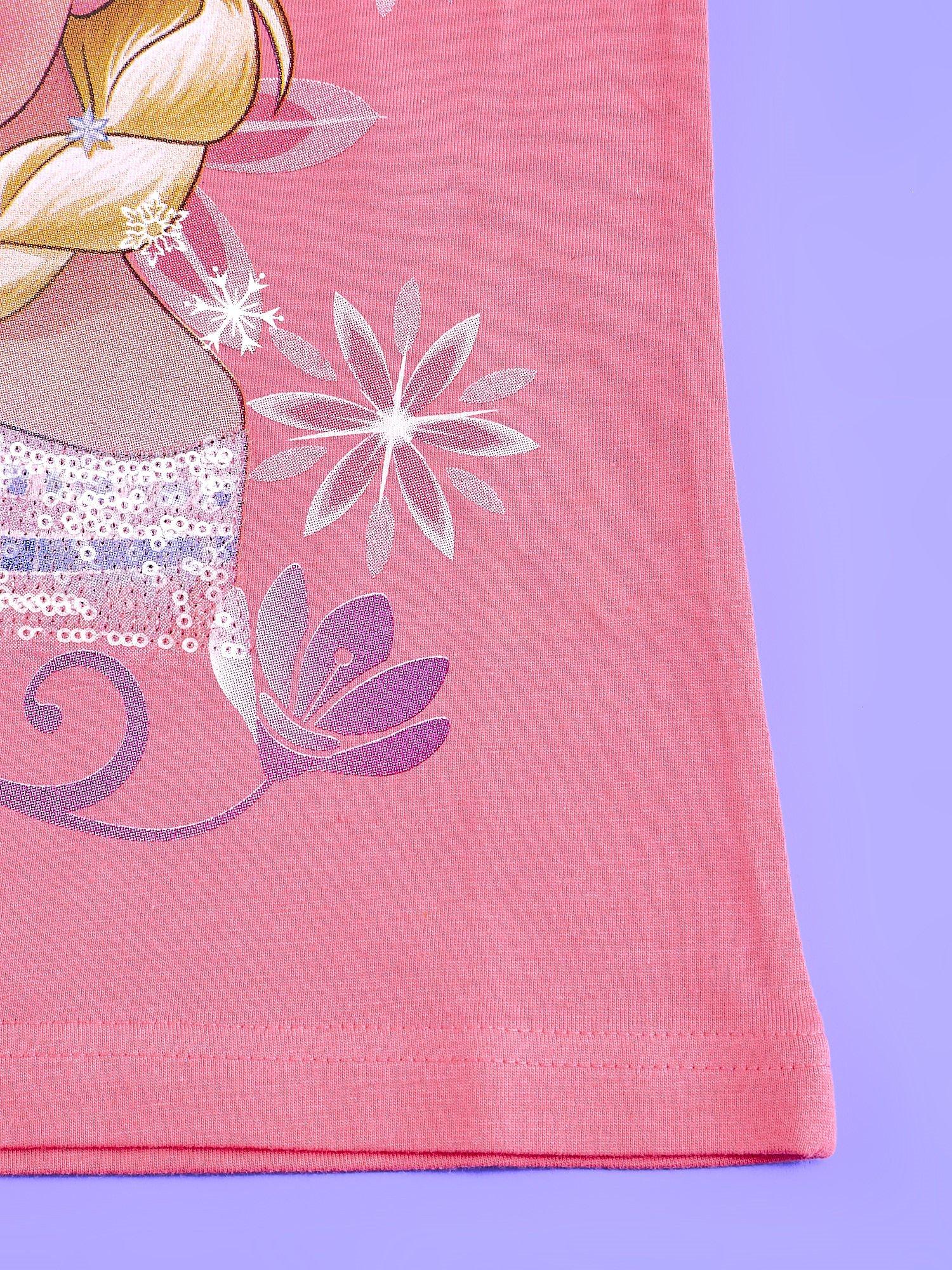 Koralowy t-shirt dla dziewczynki KRAINA LODU                                  zdj.                                  5