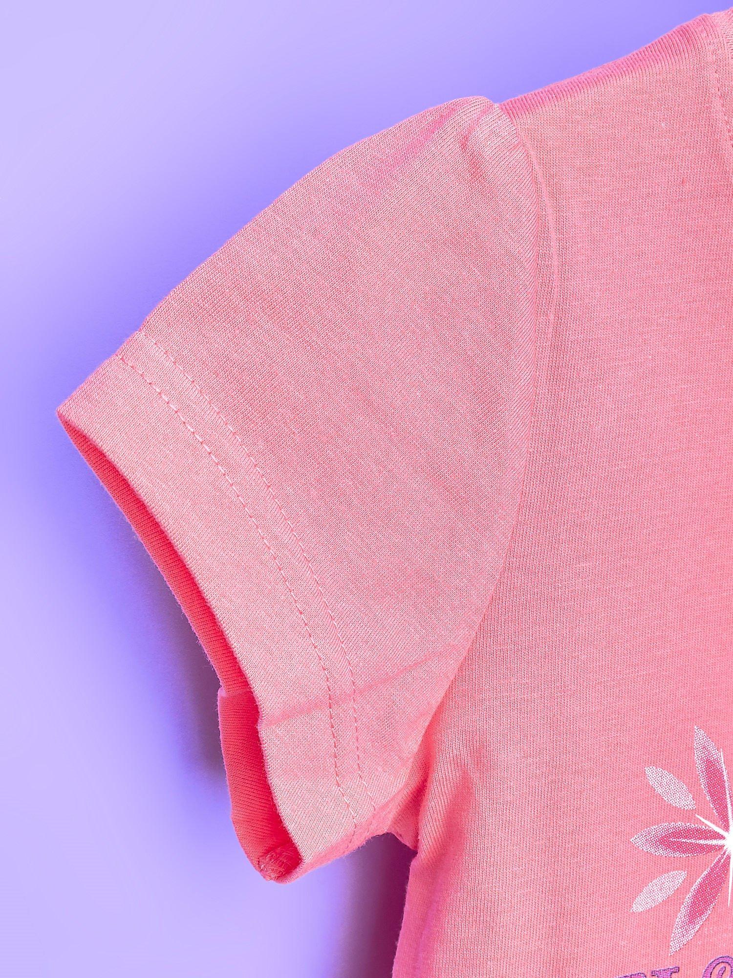 Koralowy t-shirt dla dziewczynki KRAINA LODU                                  zdj.                                  6