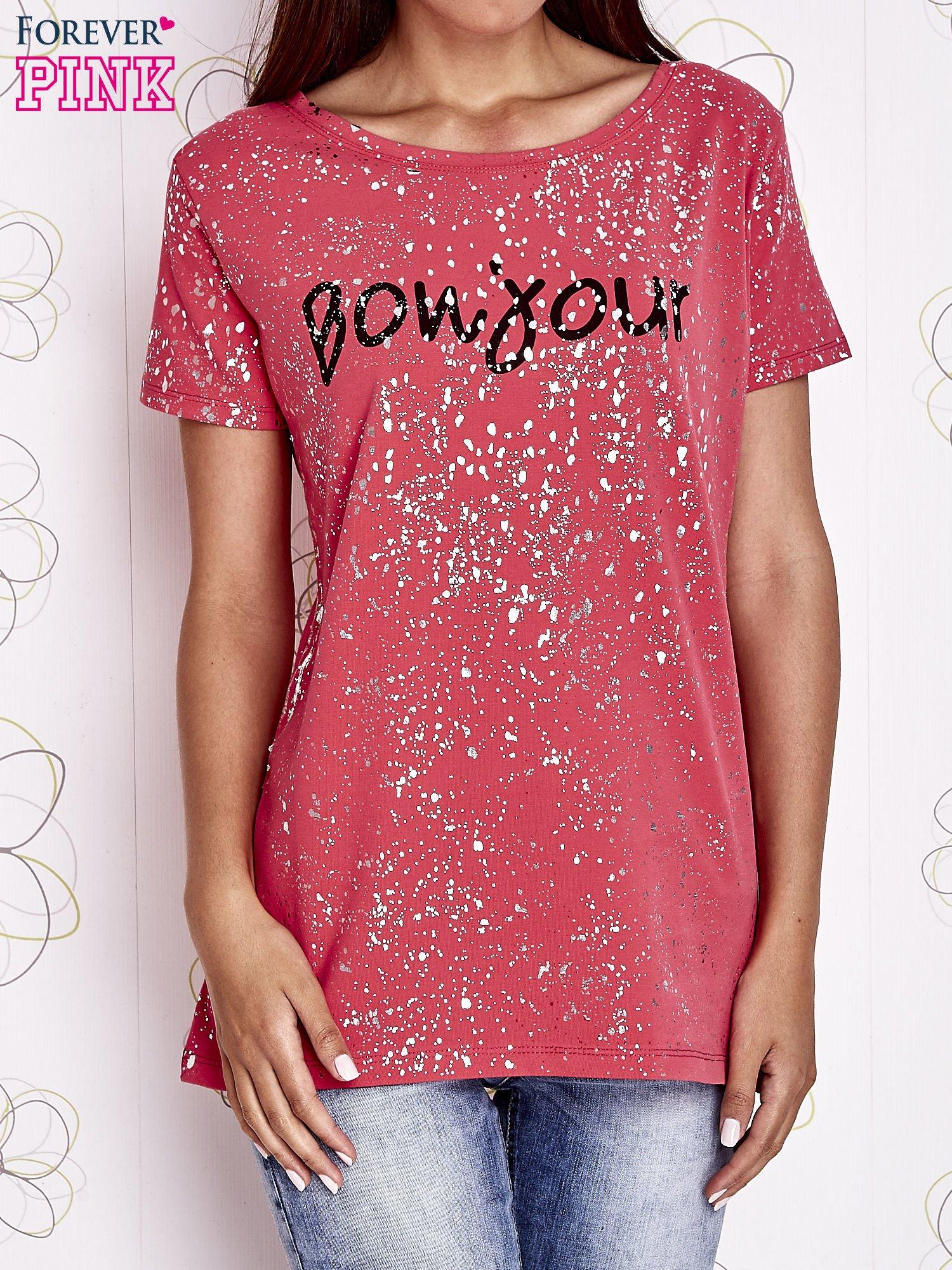 Koralowy t-shirt z napisem BONJOUR                                  zdj.                                  1