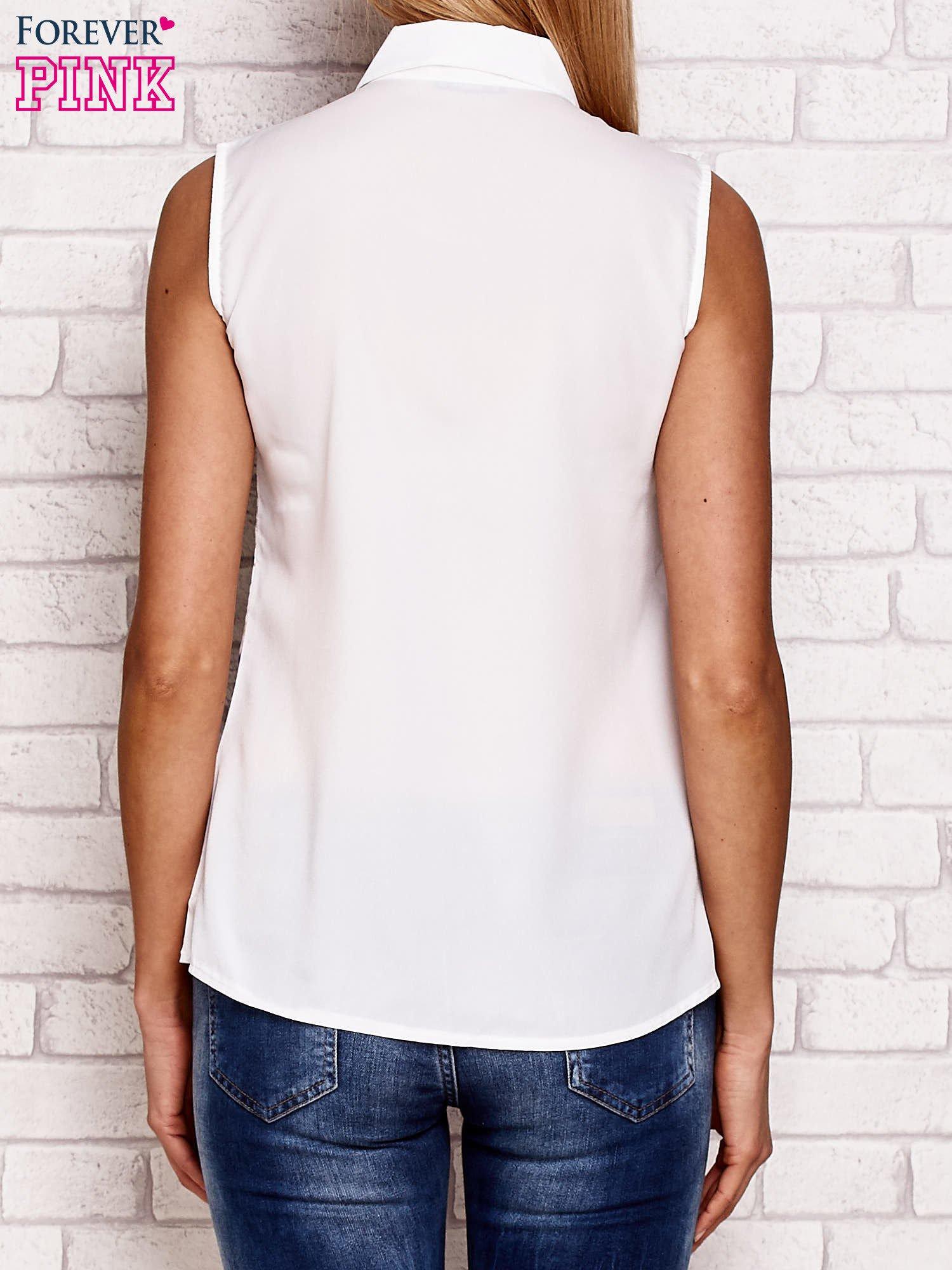 Koszula bez rękawów z rysunkowym motywem biała