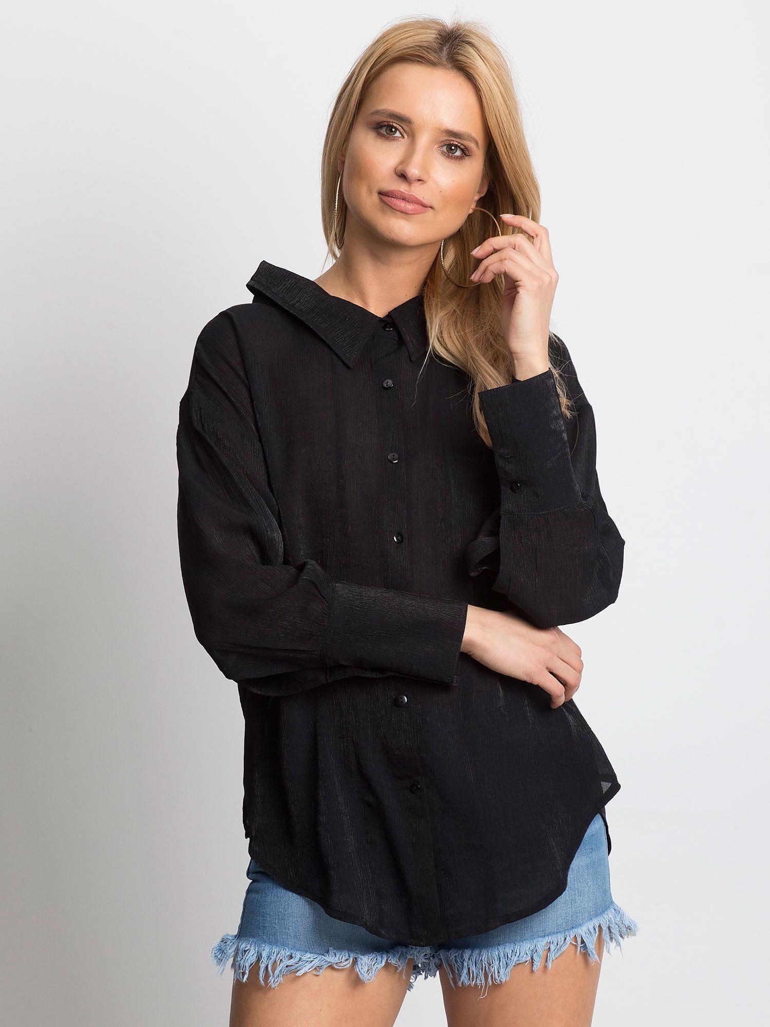 f1100e1e583f54 Koszula damska z wycięciem z tyłu czarna - Koszula klasyczna - sklep ...
