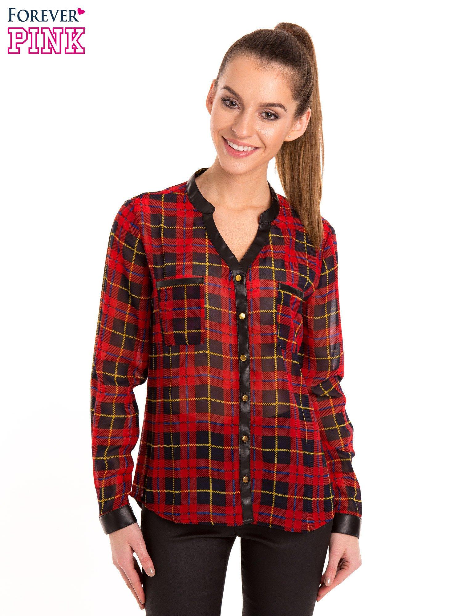 Koszula w czerwoną kratę ze skórzaną lamówką                                  zdj.                                  8