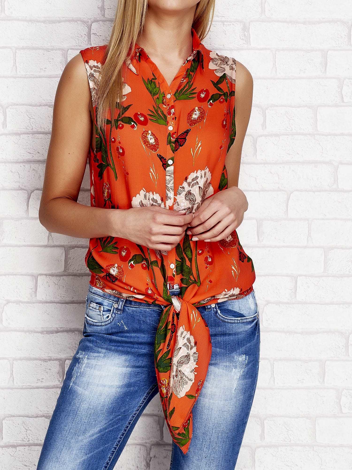 32bbc66110ea Koszula w kwiaty z wiązaniem pomarańczowa - Koszula z nadrukiem ...
