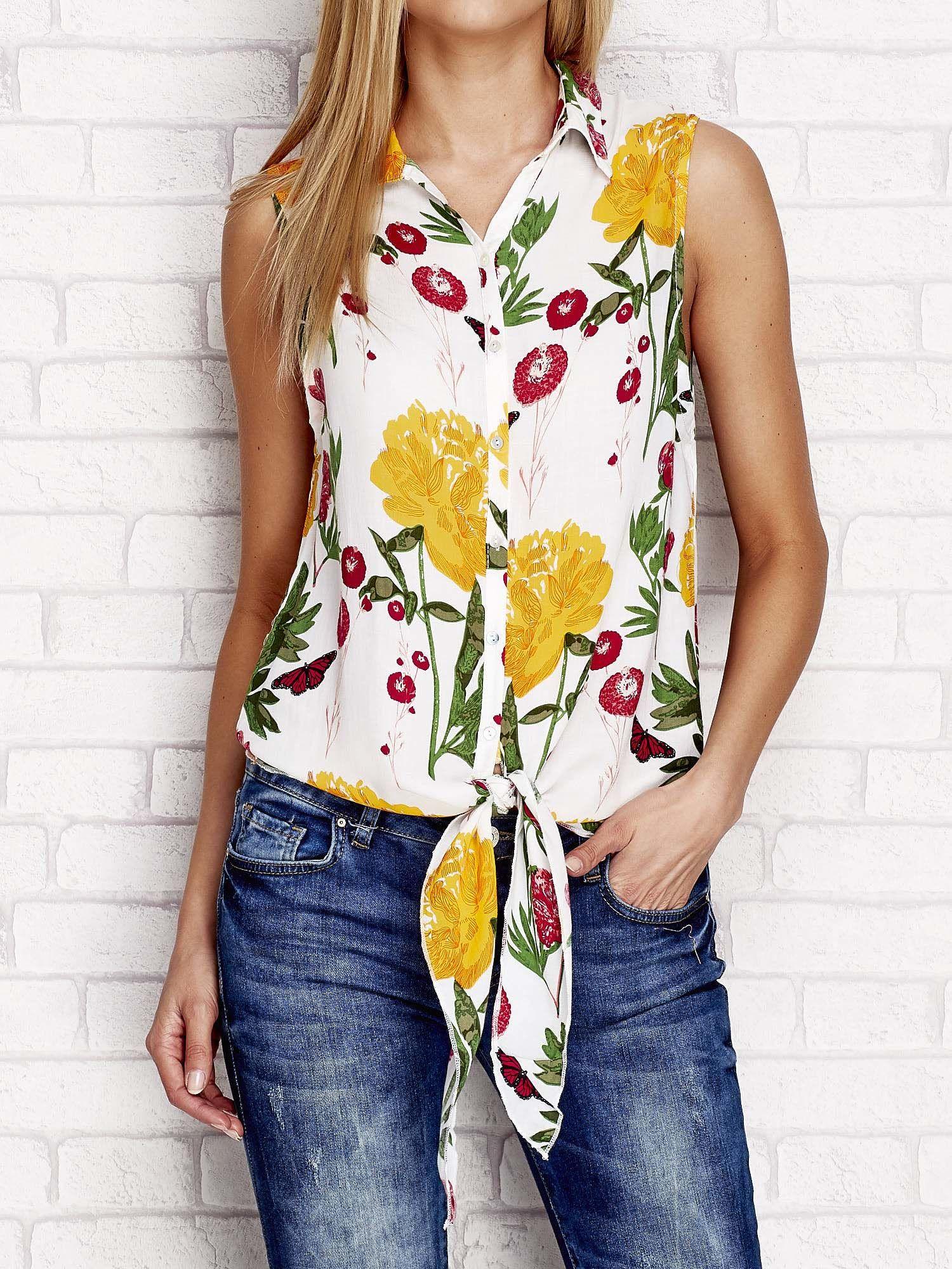 b817d218b28f Koszula w kwiaty z wiązaniem żółta - Koszula z nadrukiem - sklep ...