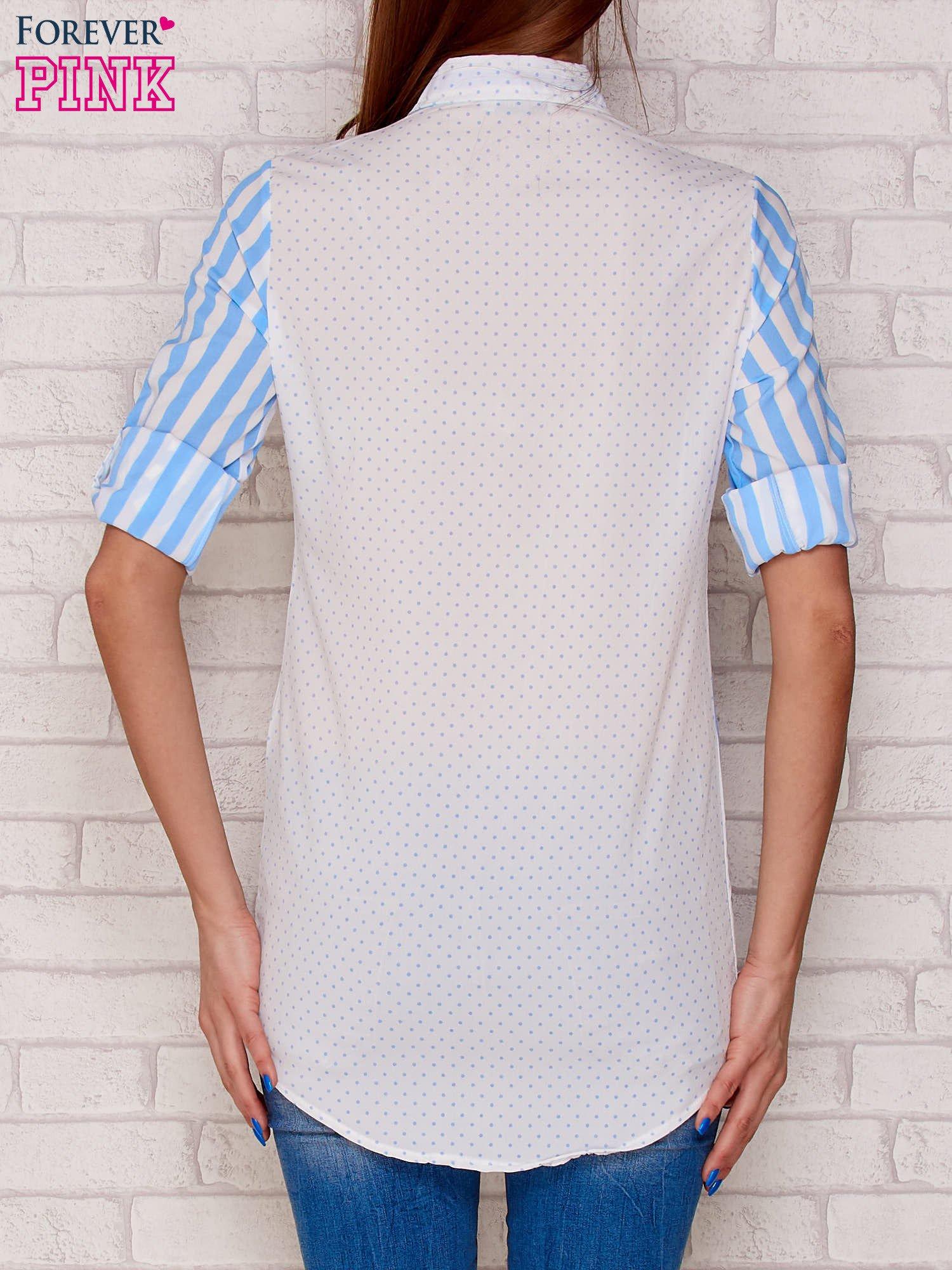 Koszula w paski i groszki jasnoniebieska
