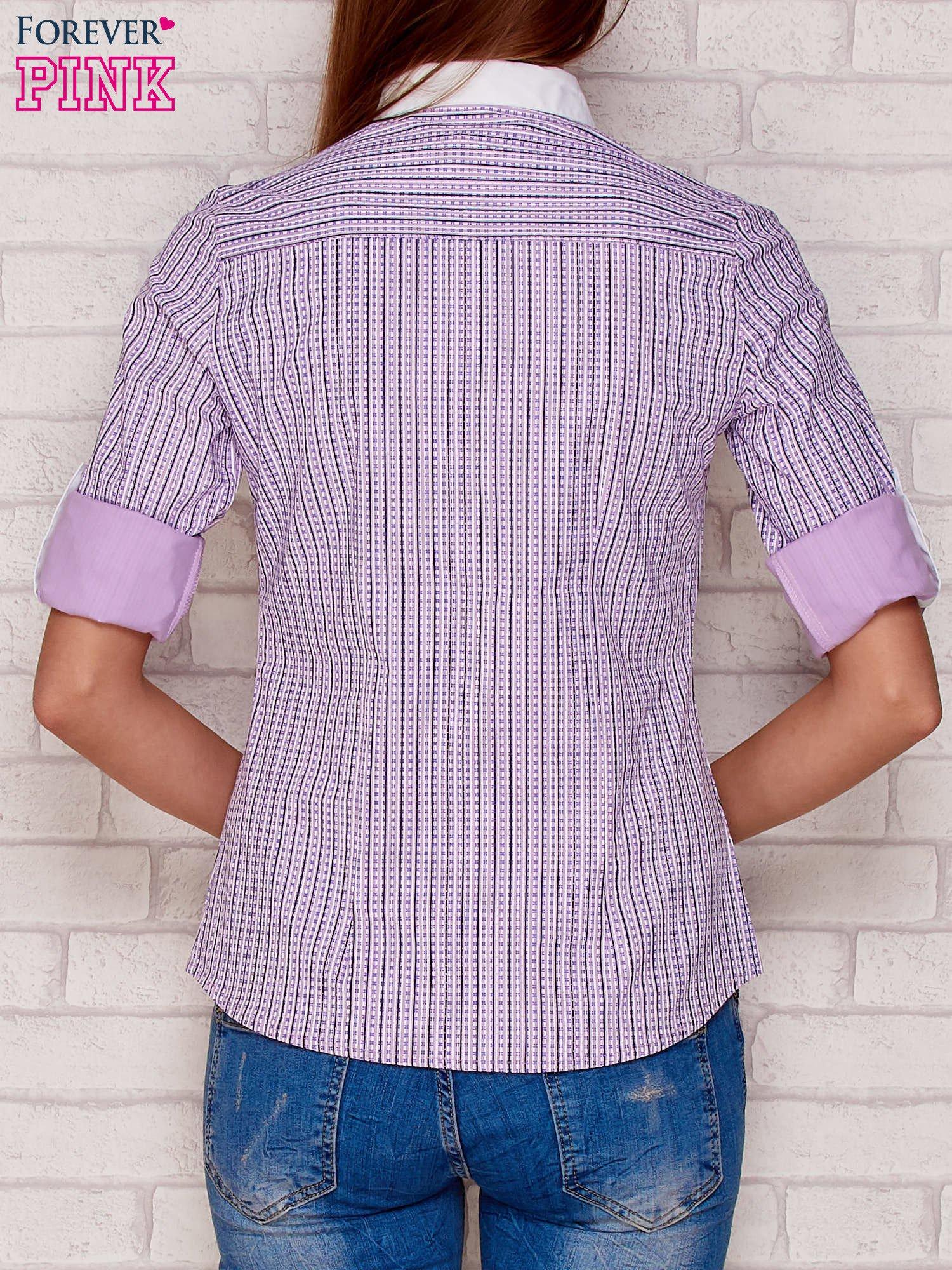Koszula w paski i wzory jasnofioletowa