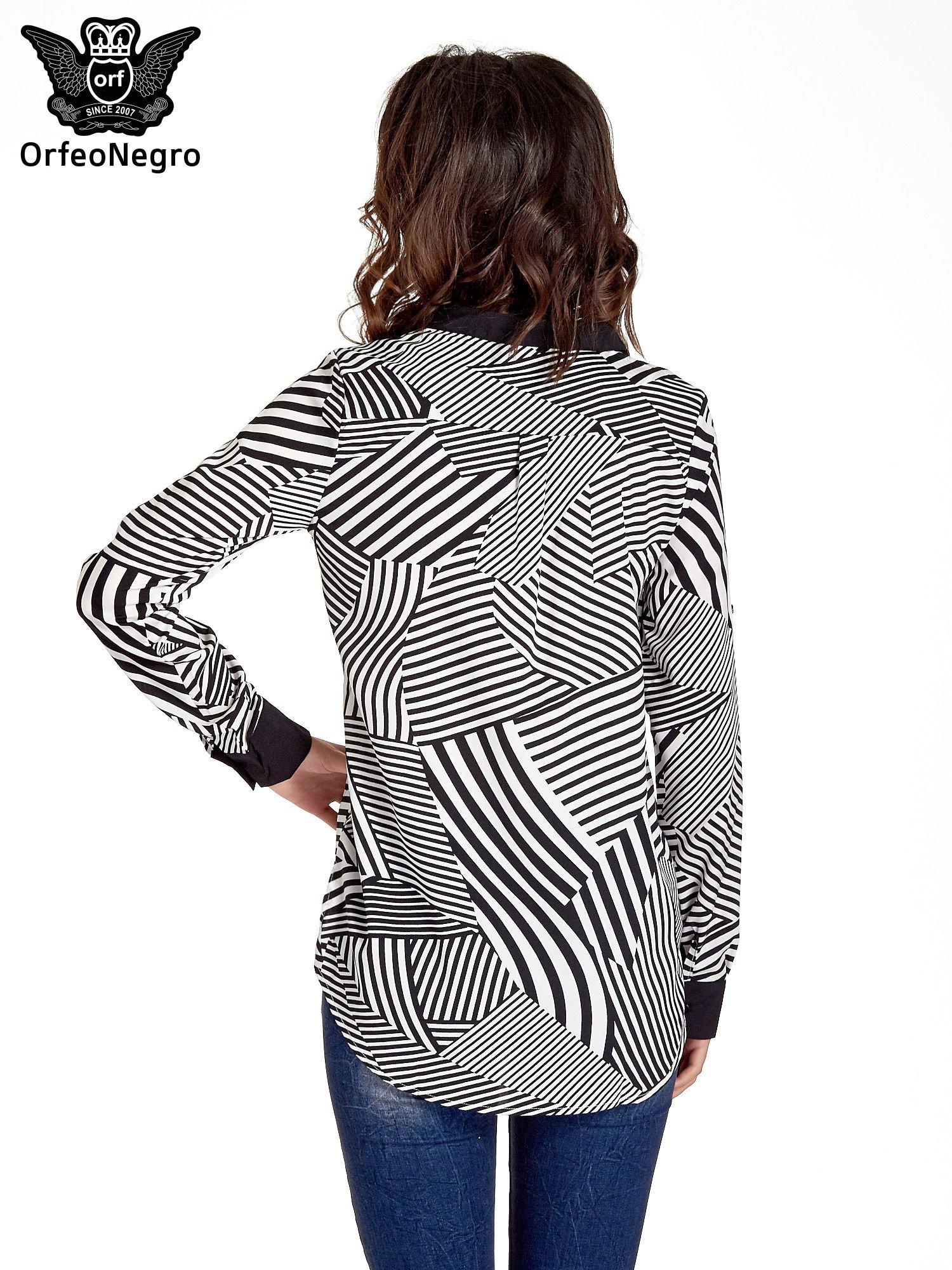 Koszula w zebrę z kontrastowymi mankietami i listwą                                  zdj.                                  2