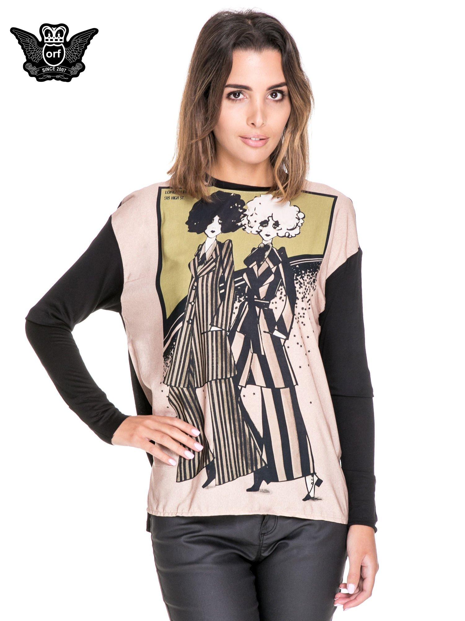 Koszula z satynowym przodem i nadrukiem kobiet                                  zdj.                                  1
