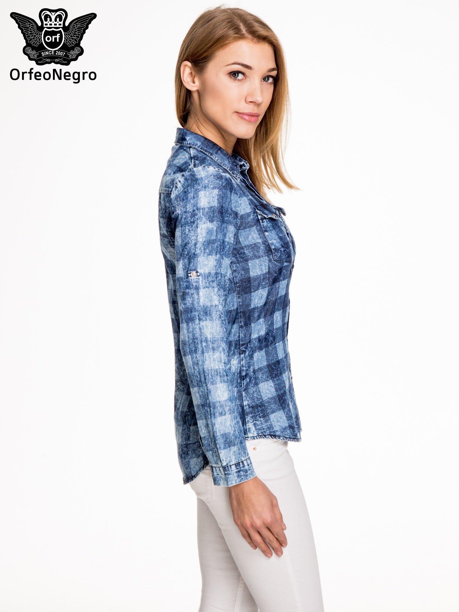 Kraciasta marmurkowa koszula z jeansu                                  zdj.                                  3
