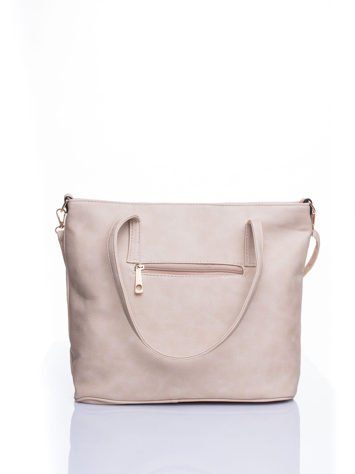 Kremowa fakturowana torba shopper bag                                  zdj.                                  3