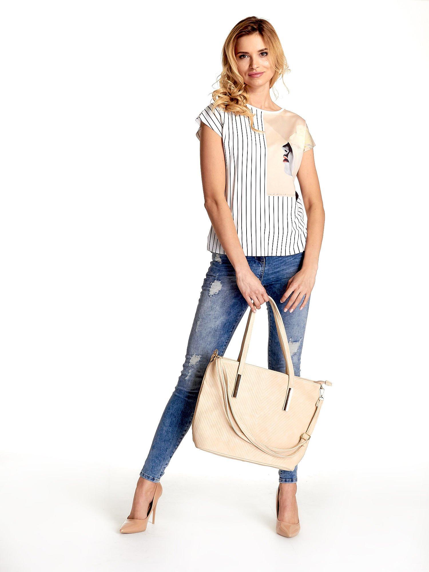 Kremowa fakturowana torba shopper bag                                  zdj.                                  6