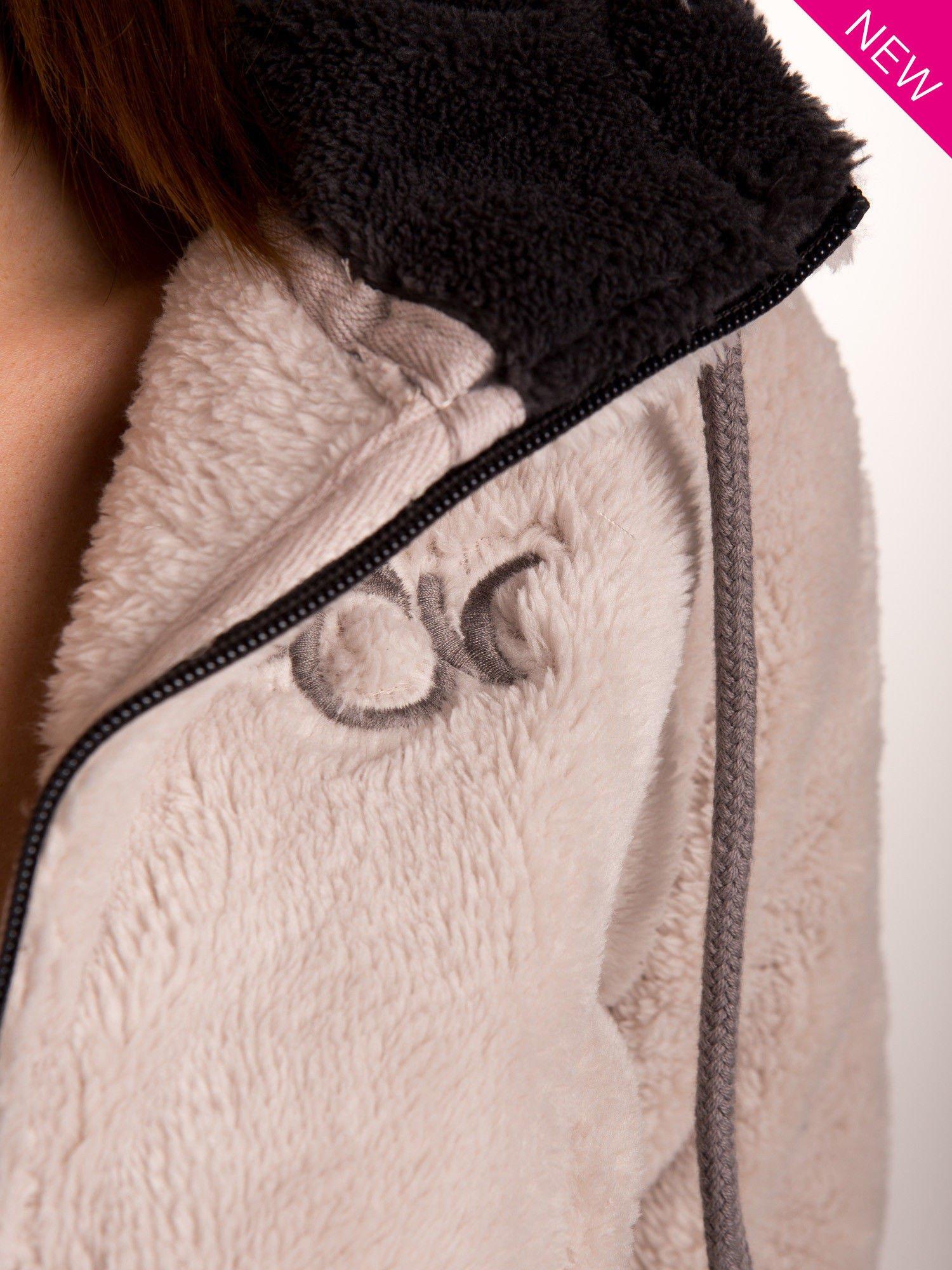 Kremowa polarowa bluza miś z kapturem z uszkami                                  zdj.                                  5