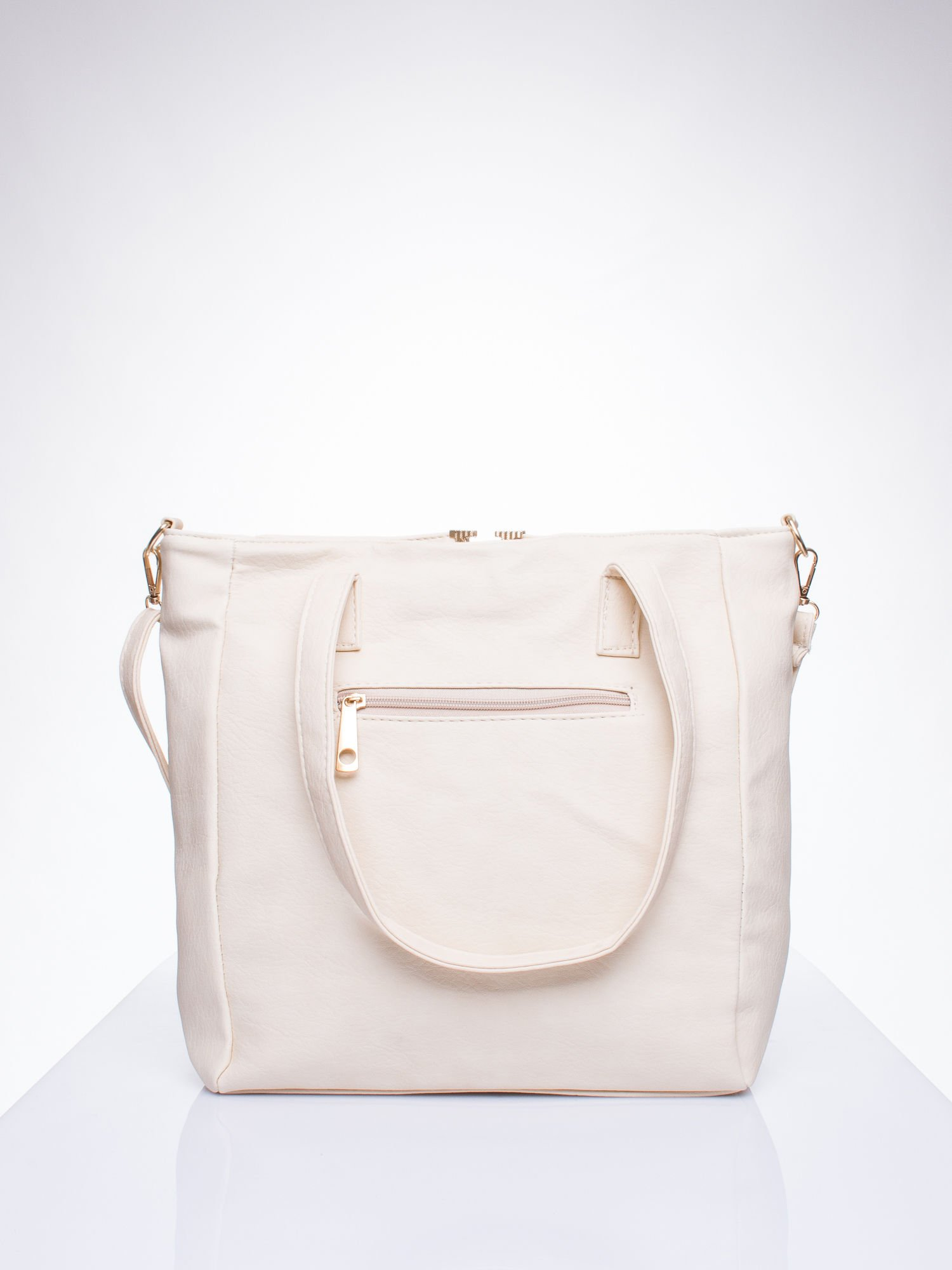 Kremowa torba shopper bag ze kieszeniami na klapki                                  zdj.                                  3