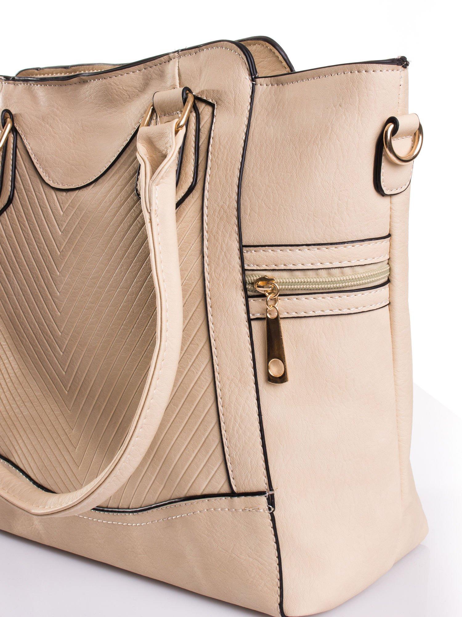 Kremowa torba ze złotymi wykończeniami                                  zdj.                                  5