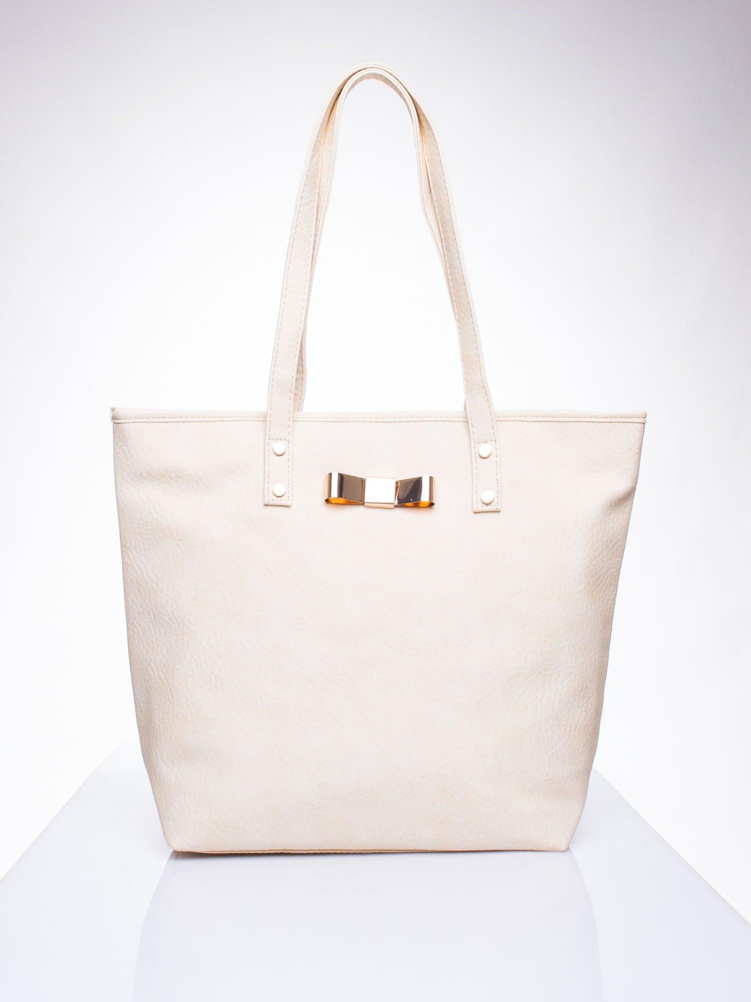 Kremowa torebka shopper bag z kokardką                                  zdj.                                  1