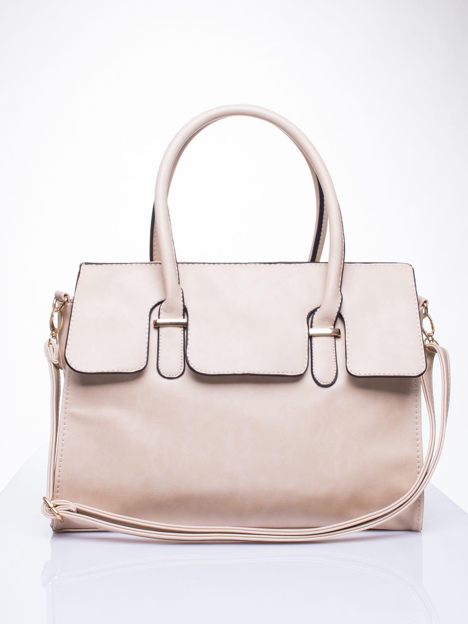 Kremowa torebka teczka z klapką                                  zdj.                                  1